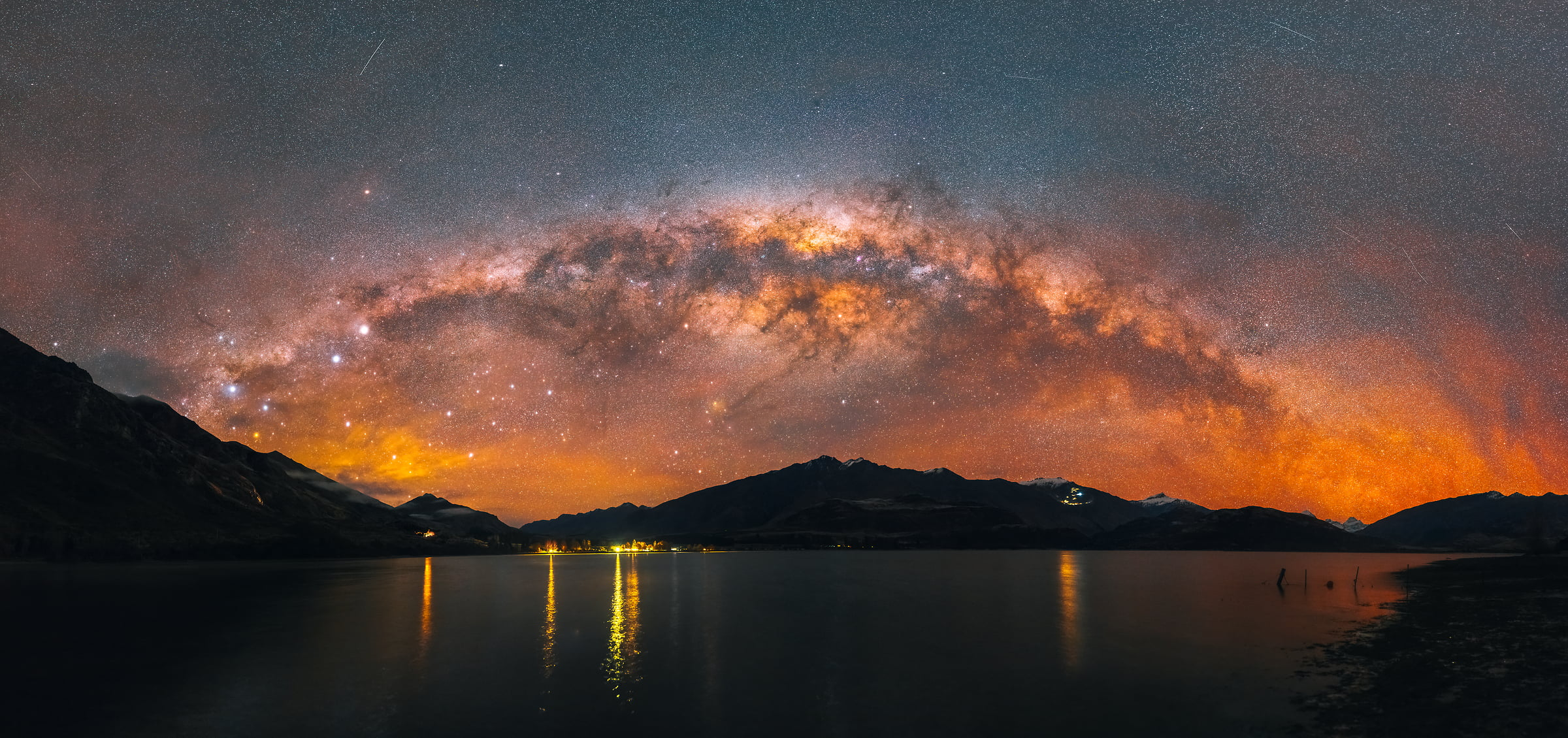 297 megapixels! A very high resolution, large-format VAST photo print of the night sky, milky way, and stars over mountains and a lake; fine art astrophotography landscape photo created by Paul Wilson in Lake Wanaka, New Zealand