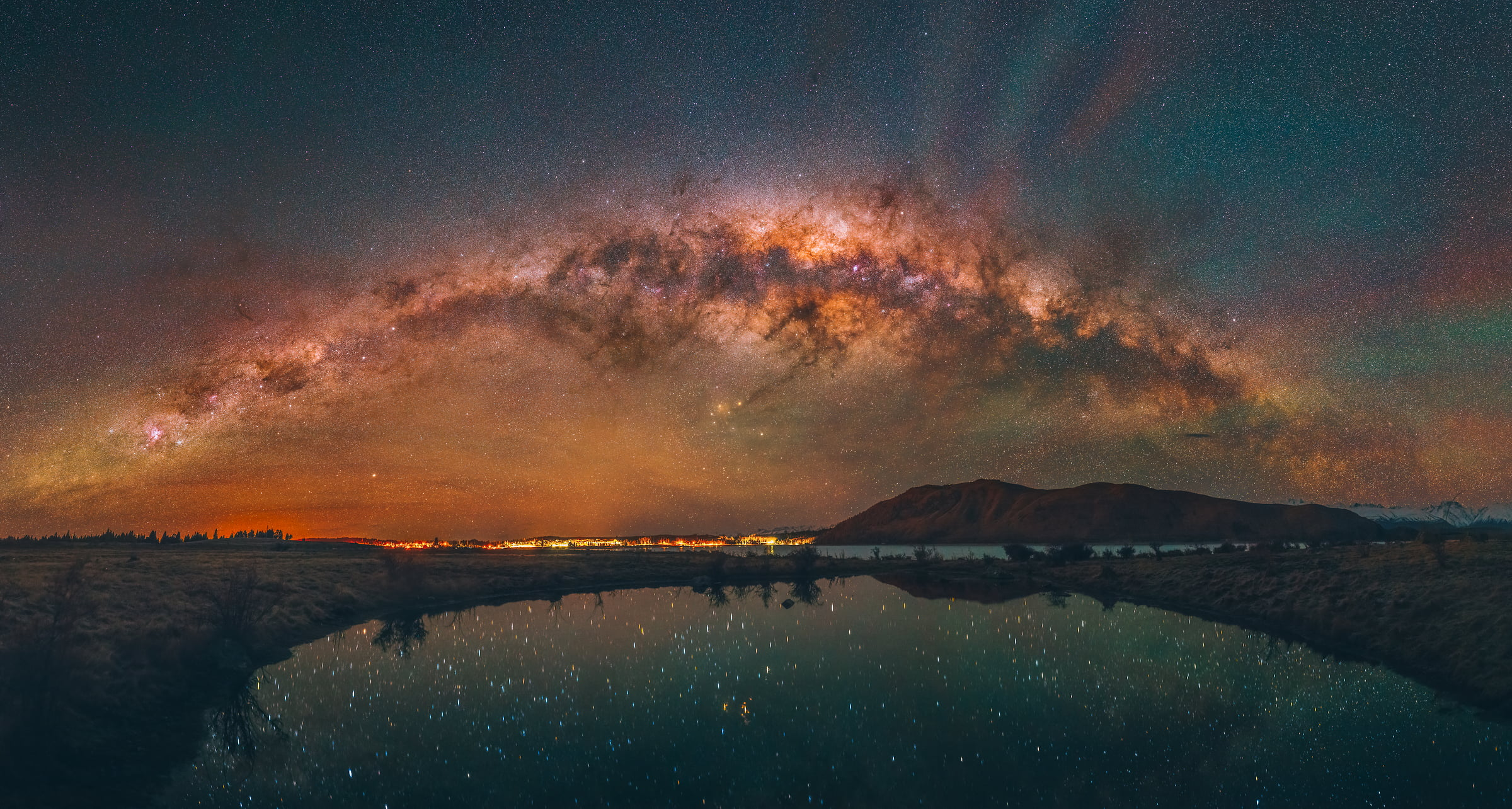 348 megapixels! A very high resolution, large-format VAST photo print of the night sky, milky way, and stars over mountains and a lake; fine art astrophotography landscape photo created by Paul Wilson in Lake Tekapo, New Zealand