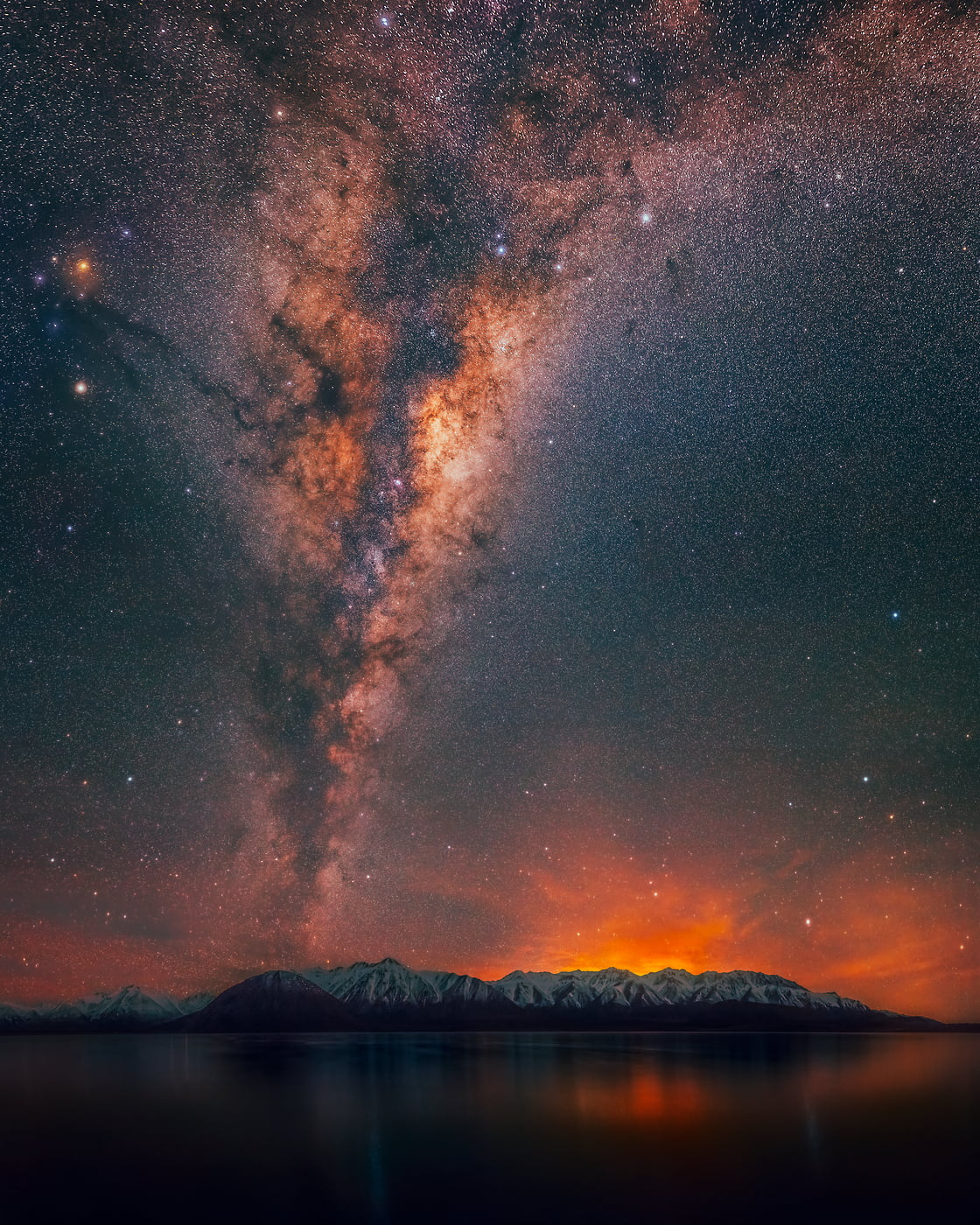 477 megapixels! A very high resolution, large-format VAST photo print of the night sky, milky way, and stars over mountains and a lake; fine art astrophotography landscape photo created by Paul Wilson in Lake Heron, New Zealand