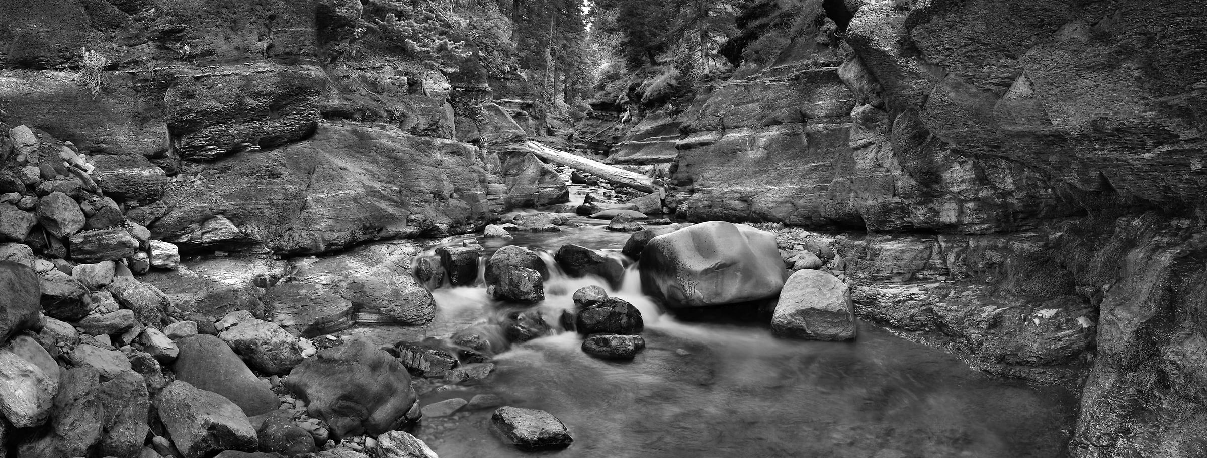 4,741 megapixels! A very high resolution, large-format VAST photo print of a stream, waterfall, and rocks; black and white fine art nature photo created by Steve Webster in Red Rock Canyon, Waterton Lakes National Park, Alberta Canada