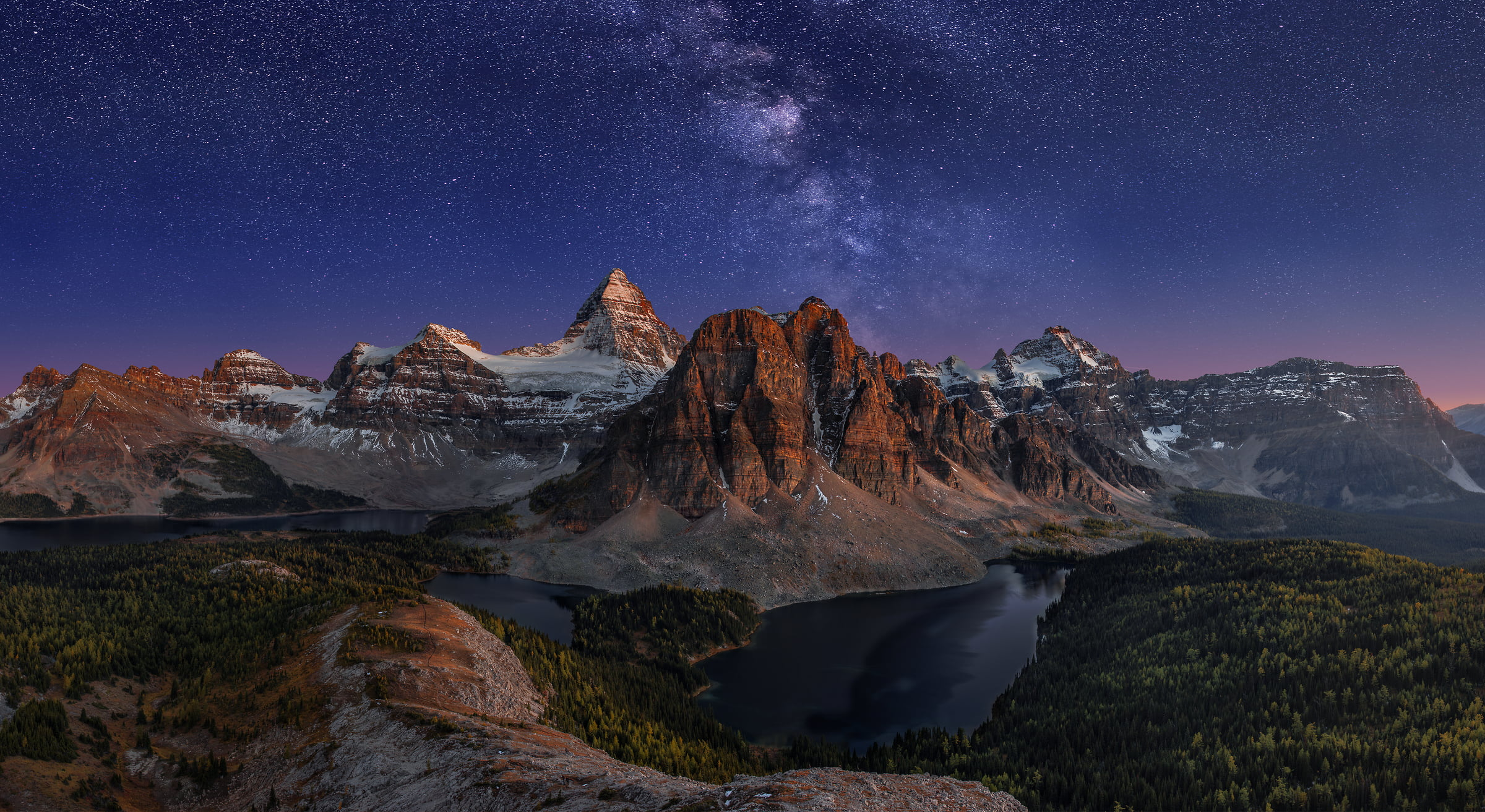 630 megapixels! A very high resolution, large-format VAST photo print of mountains, lakes, the milky way, stars, and Mount Assiniboine; fine art landscape photo created by Chris Collacott in Assiniboine Provinical Park, British Columbia, Canada