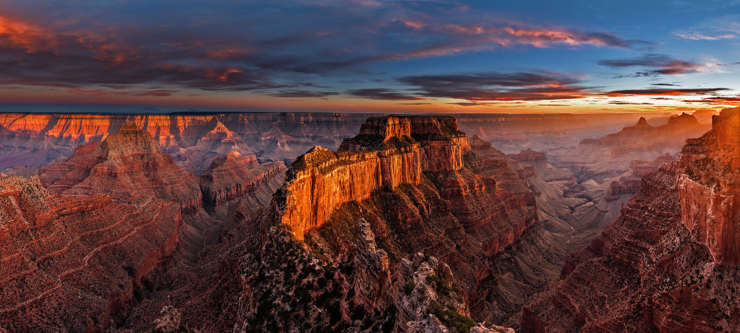 508 megapixels! A very high resolution, large-format VAST photo print of the Grand Canyon at sunset; fine art landscape photo created by Chris Collacott in Grand Canyon National Park, Arizona