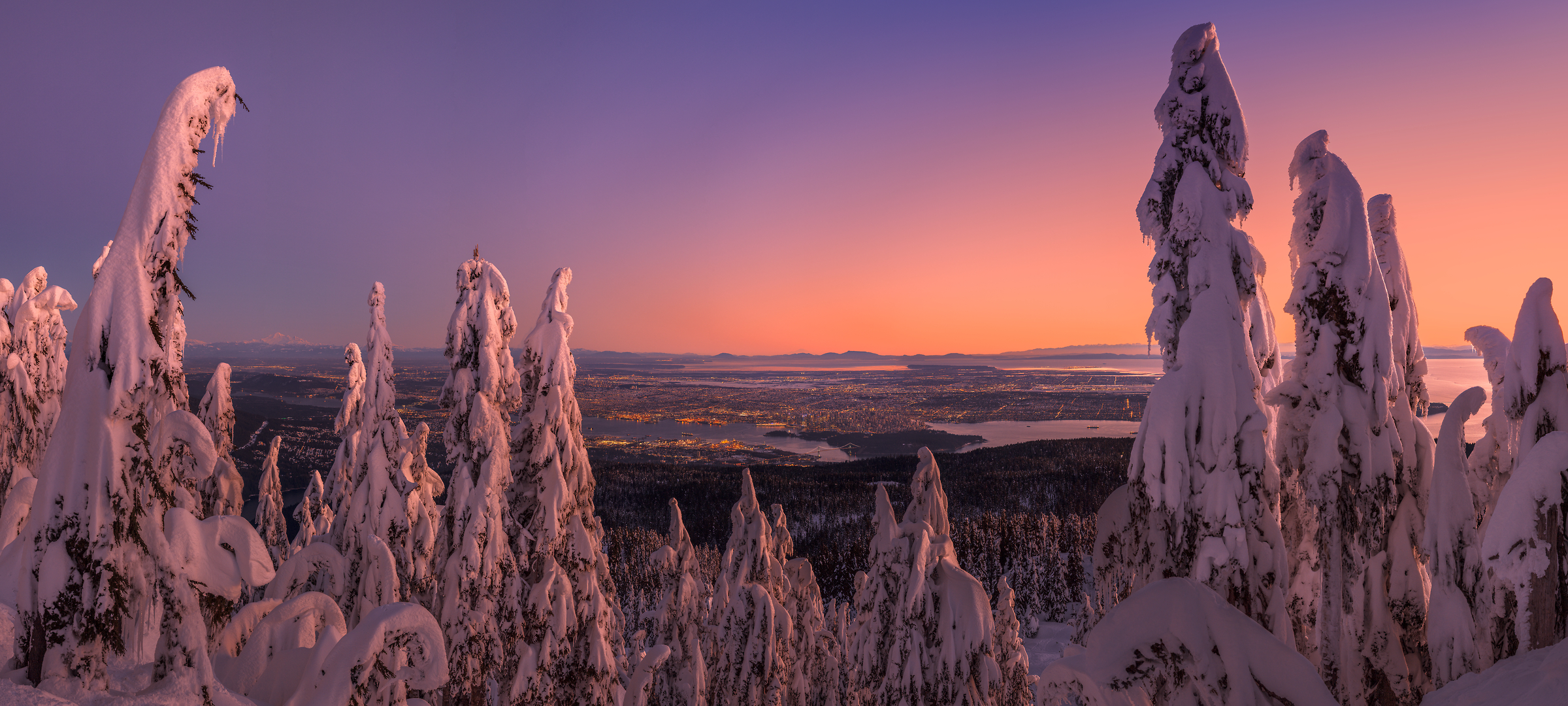 443 megapixels! A very high resolution, large-format VAST photo print of snow-covered trees overlooking a city at sunset from Hollyburn Peak; fine art landscape photo created by Chris Collacott in West Vancouver, British Columbia, Canada