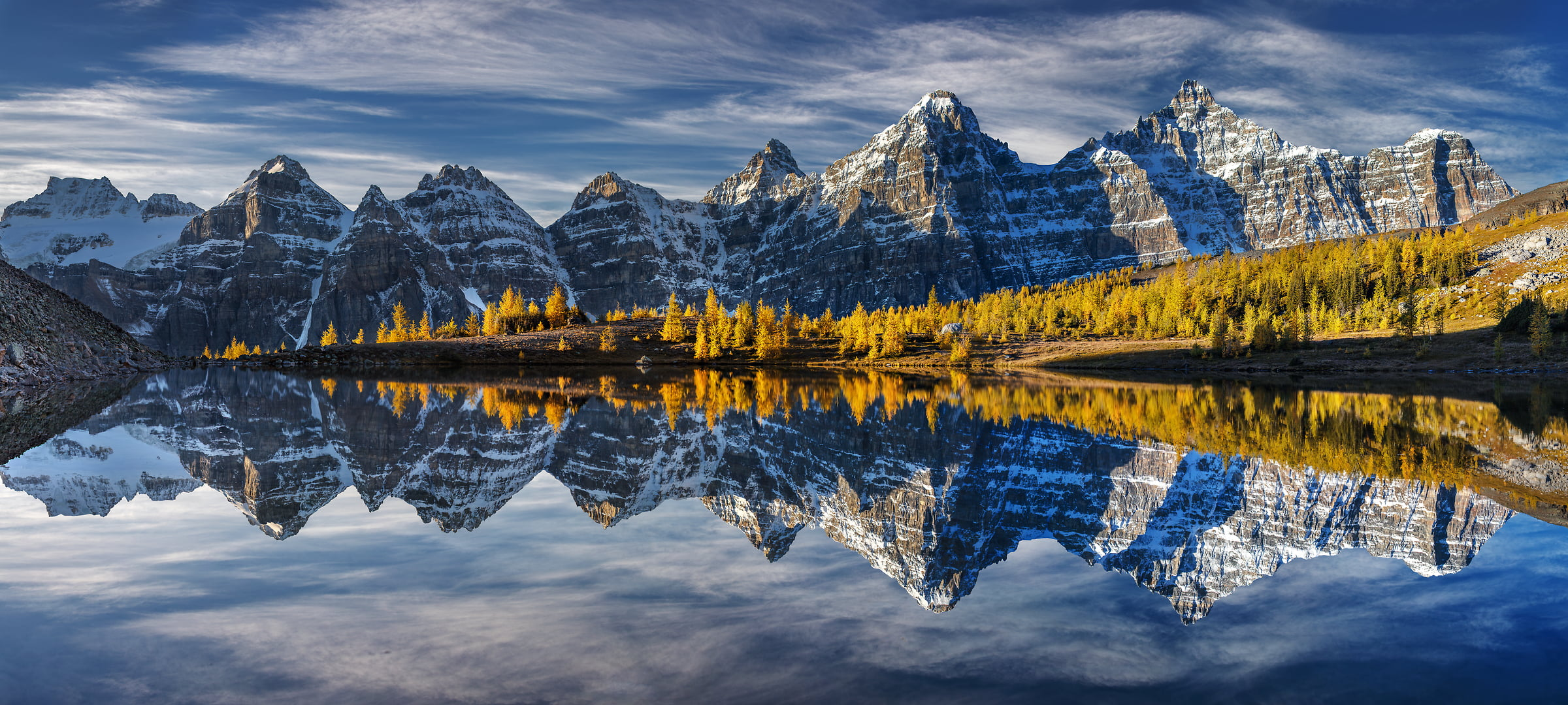 A very high resolution, large-format VAST photo print of mountains, autumn trees, and a lake with reflection; fine art landscape photo created by Chris Collacott in Banff National Park, Alberta, Canada