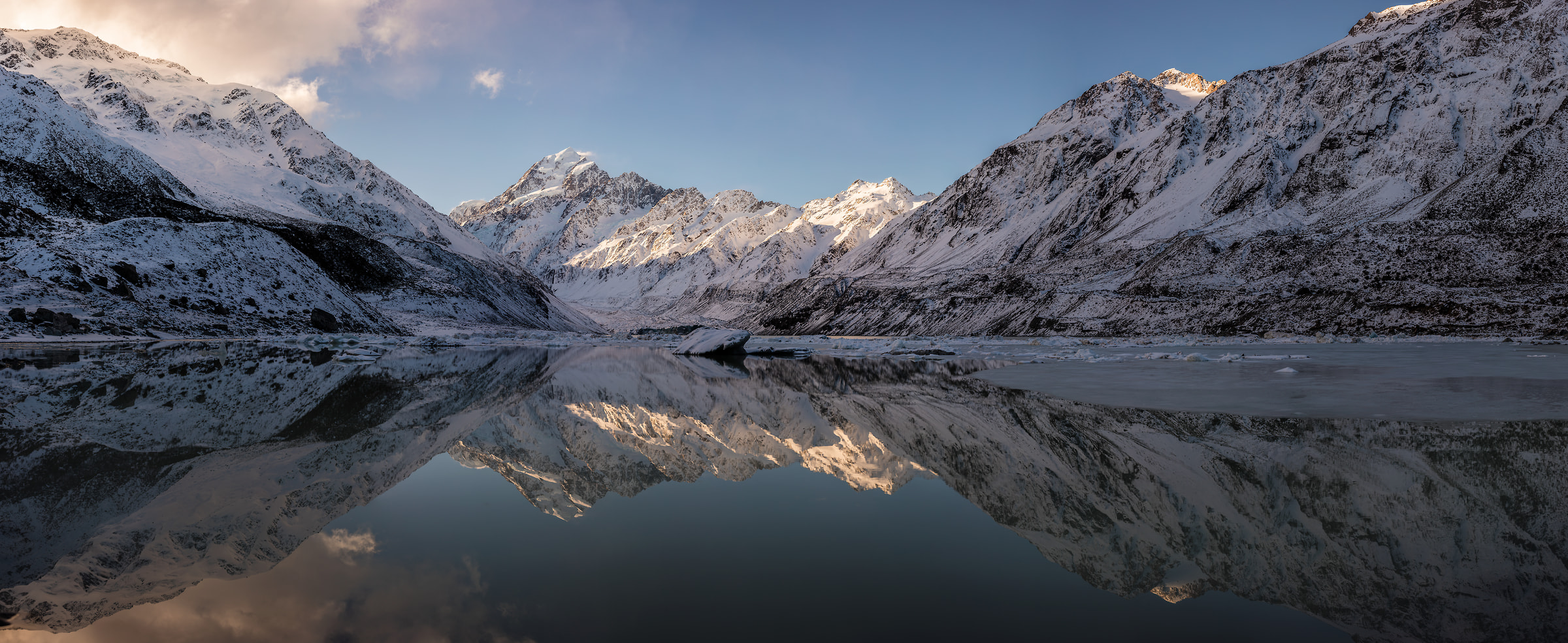 669 megapixels! A very high resolution, large-format VAST photo print of a frozen lake and mountains. Nature landscape mountain photo created by Chris Collacott at Mt Aoraki and Mt. Cook National Park