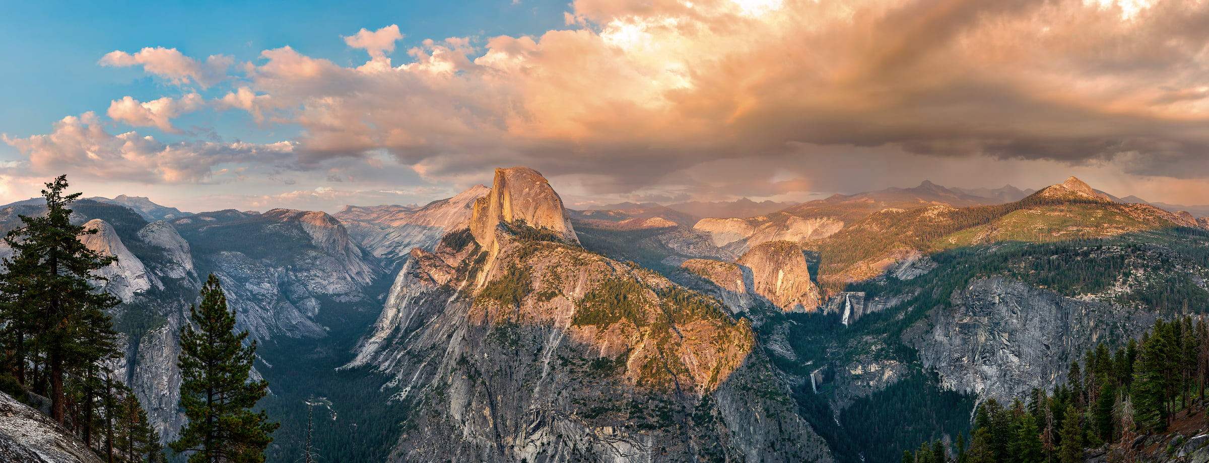 946 megapixels! A very high resolution, large-format VAST photo print of the Yosemite Naitonal Park valley and Half Dome at sunset from Glacier Point; nature landscape photo created by Justin Katz