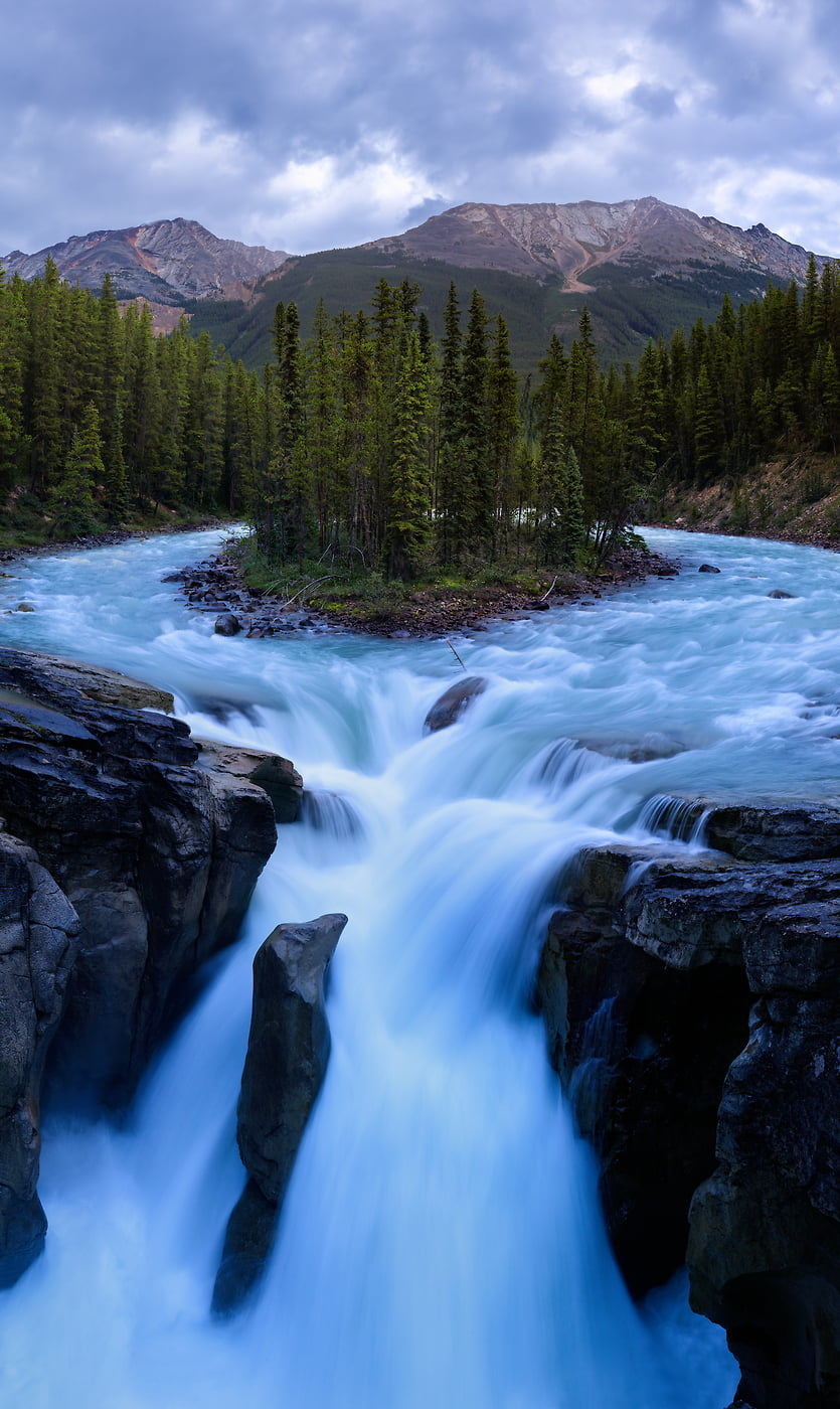 653 megapixels! A very high resolution, large-format VAST photo print of Sunwapta Falls waterfall in Banff National Park; vertical fine art nature photograph created by Scott Dimond in Alberta, Canada