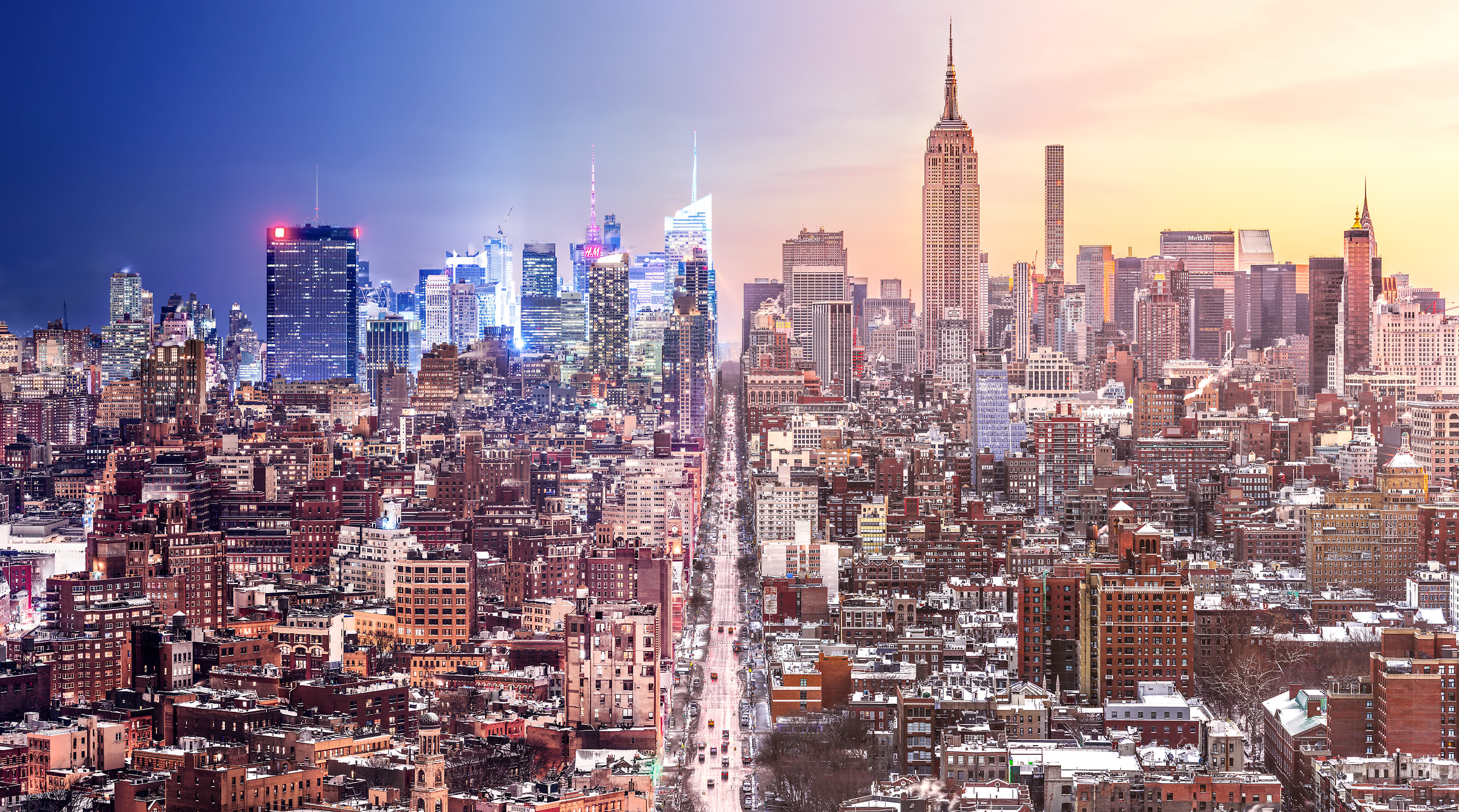 425 megapixels! A very high resolution photograph of the NYC skyline transitioning from night into day; fine art cityscape photo created by Dan Piech in Manhattan, New York City