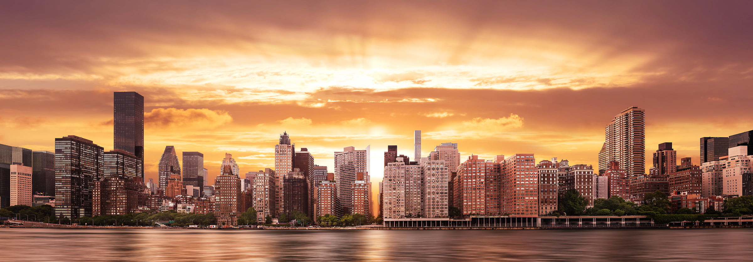 New York Skyline Sunset Photos Large Format Fine Art