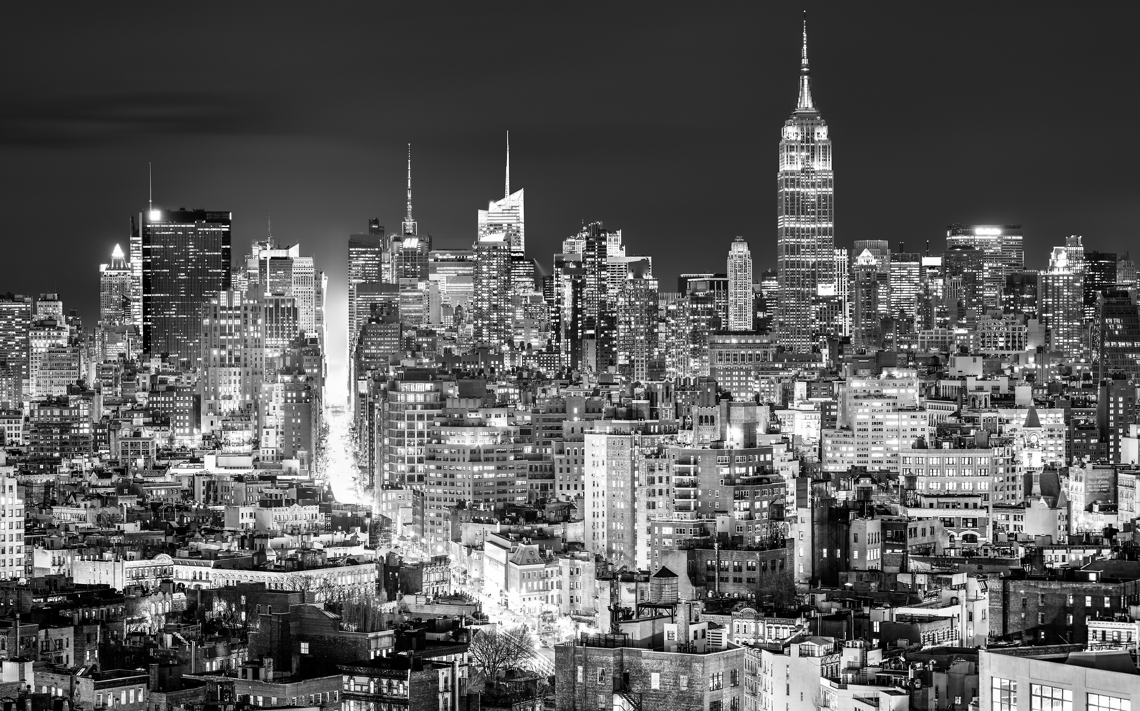 1,105 megapixels! A very high resolution, large-format VAST photo print of the Manhattan, New York City skyline at night; cityscape photo created by Dan Piech
