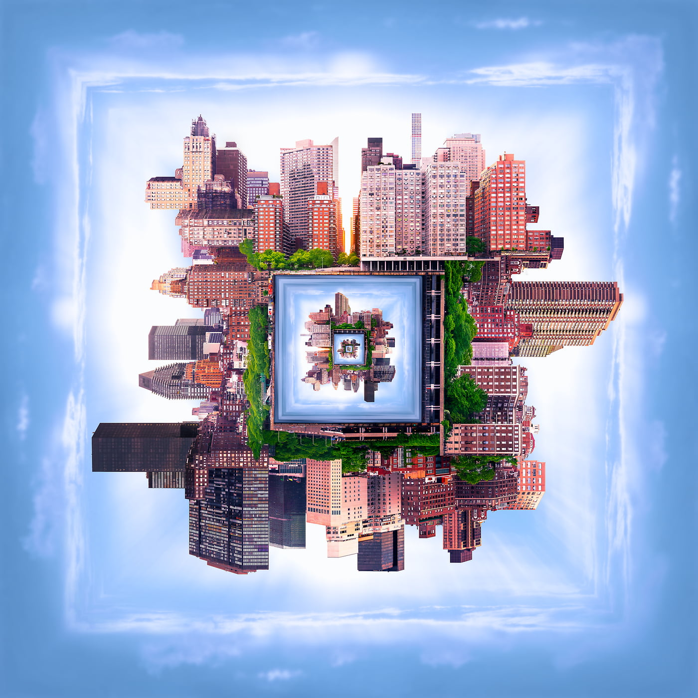2,204 megapixels! A very high resolution, large-format VAST photo print of a surreal city in a square shape; artistic fine art skyline photograph created by Dan Piech in Midtown East, Manhattan, New York City