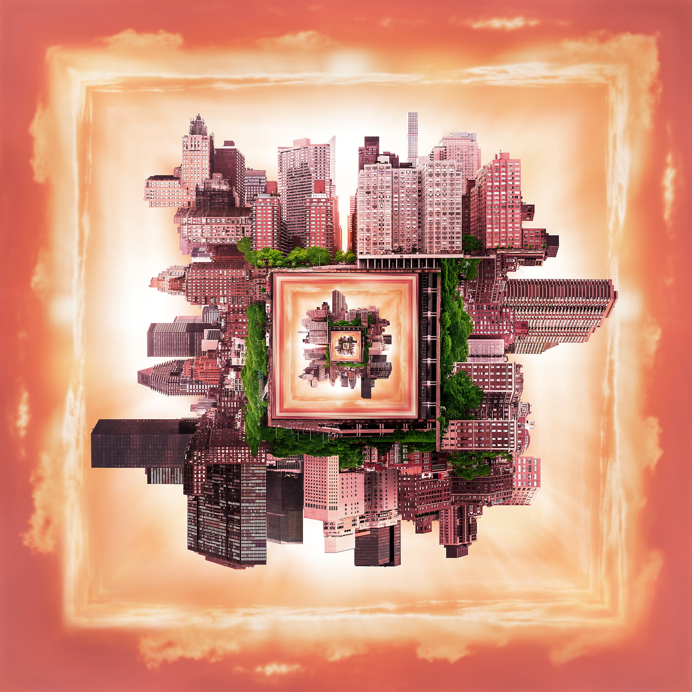 2,204 megapixels! A very high resolution, large-format abstract photo of a city in a square shape; fine art print created by Dan Piech in Midtown East, Manhattan, New York City