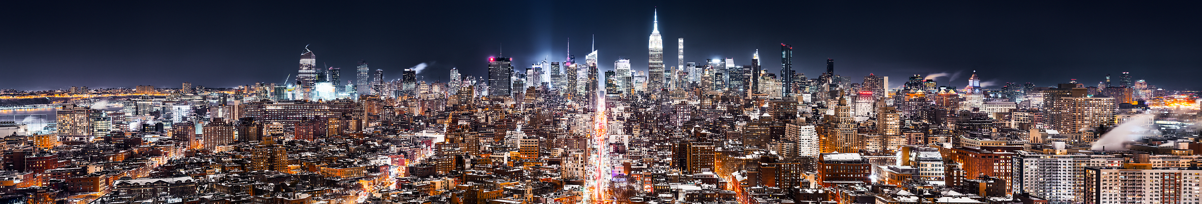 4,636 megapixels! A very high resolution, large-format panorama photo of the New York City skyline at night; cityscape fine art photo created by Dan Piech in Midtown Manhattan, New York City