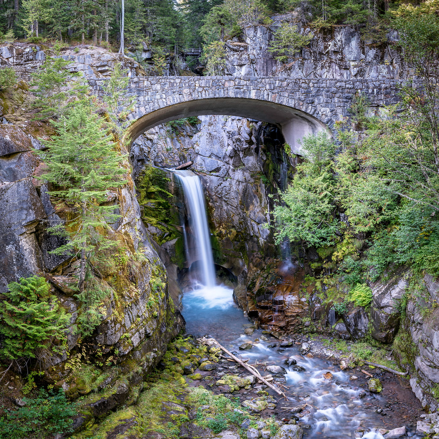 355 megapixels! A very high resolution, large-format VAST photo print of a nature scene with a bridge and waterfall in the Pacific Northwest; fine art photo created by Justin Katz at Christine Falls on Mount Rainier in Washington
