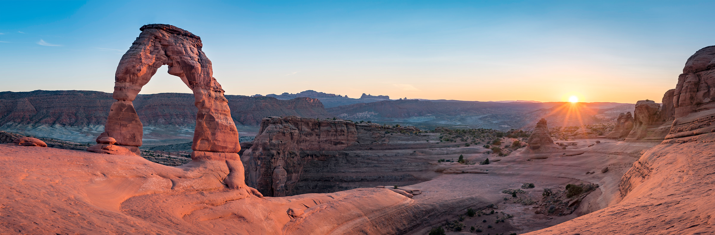 365 megapixels! A very high resolution, large-format VAST photo print of an American panorama landscape at sunset; fine art photo of Delicate Arch created by Justin Katz in Arches National Park, Moab, Utah