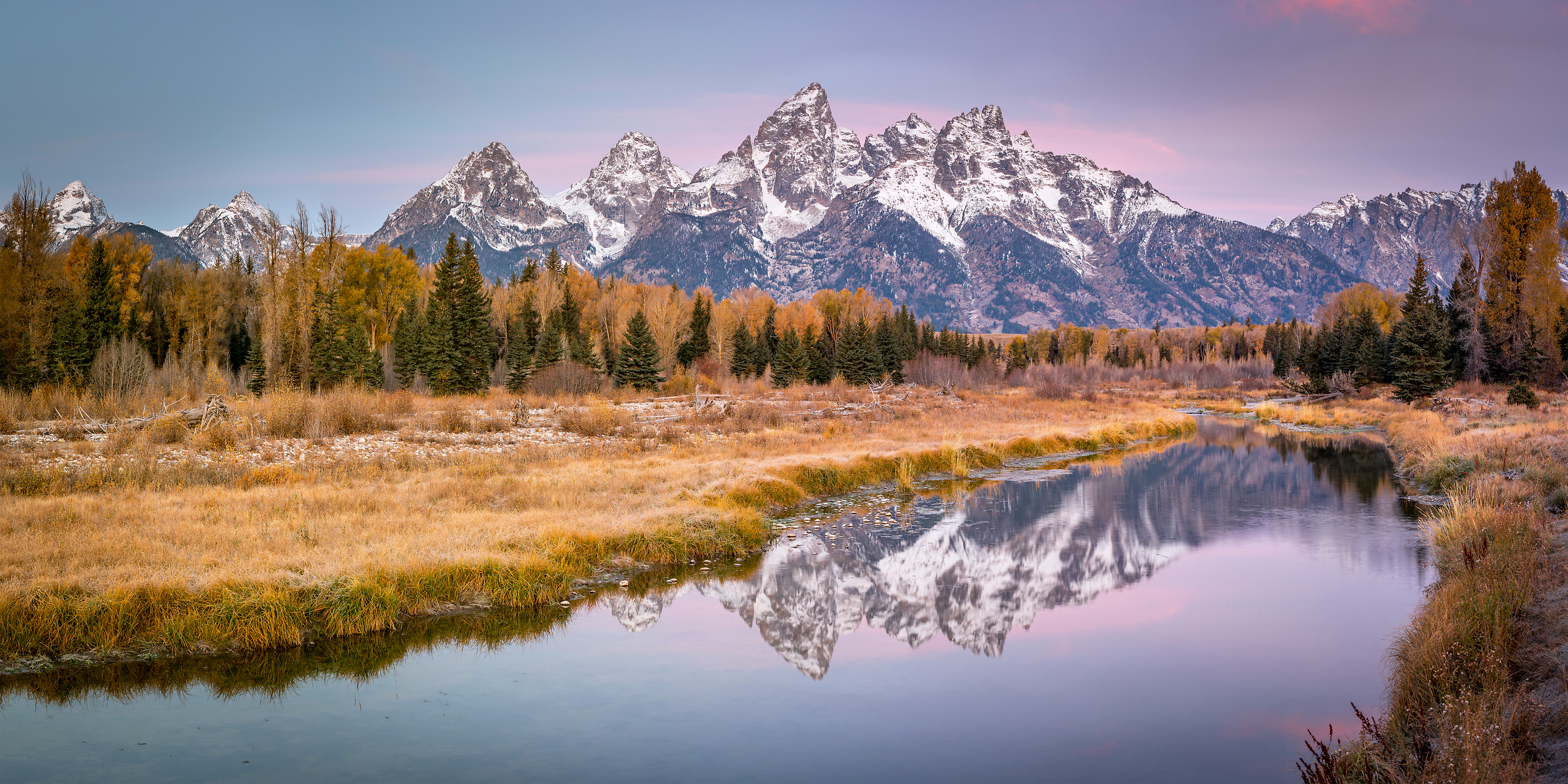 266 megapixels! A very high resolution, large-format VAST photo print of a mountain landscape scene at dawn with the Grand Tetons, a river, and a forest with autumn foliage; landscape photo created by Justin Katz in Grand Teton National Park, Wyoming