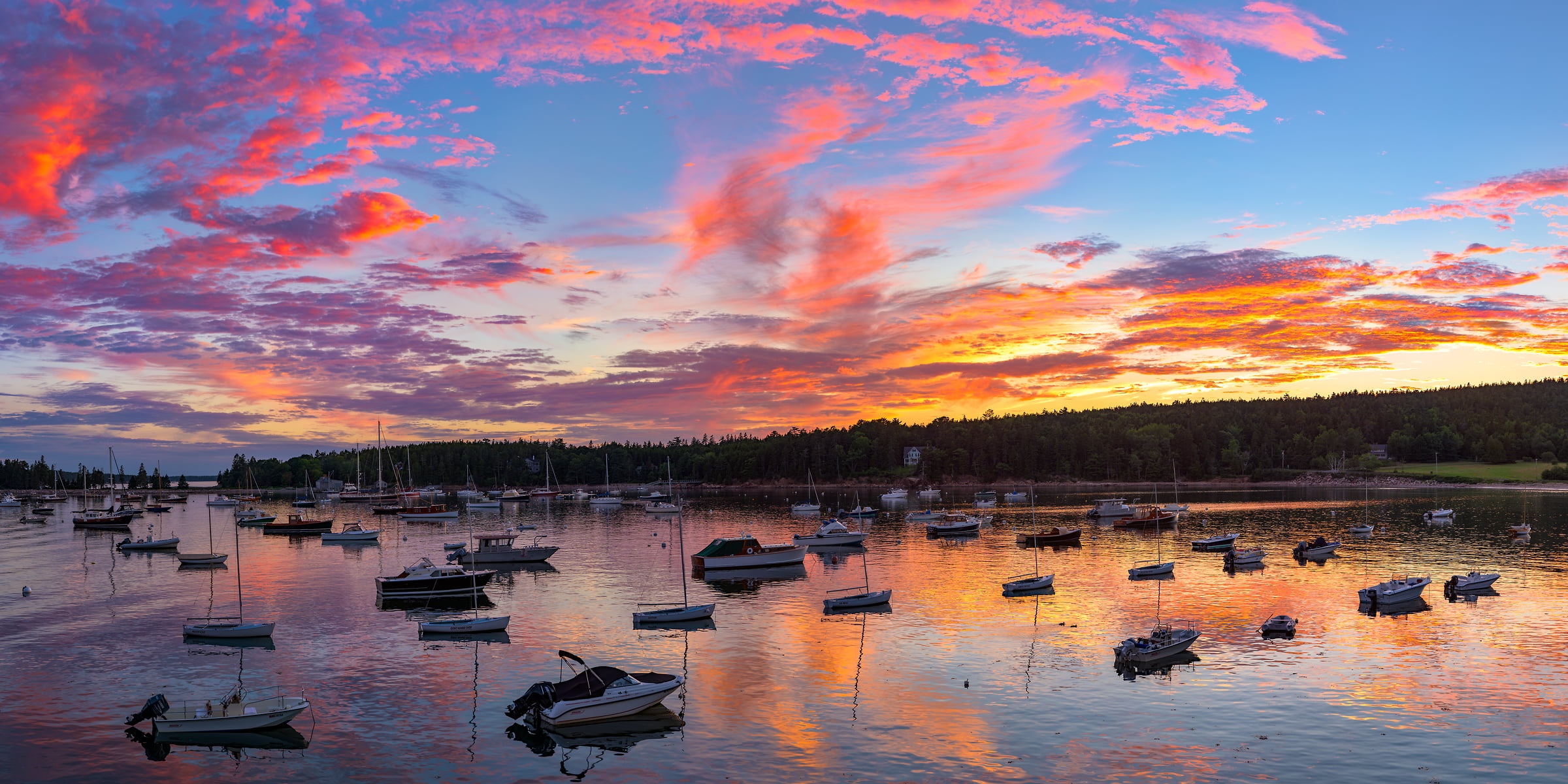 551 megapixels! A very high resolution, large-format VAST photo of a New England harbor with boats at sunset; fine art landscape photograph created by Aaron Priest in Seal Harbor, Maine