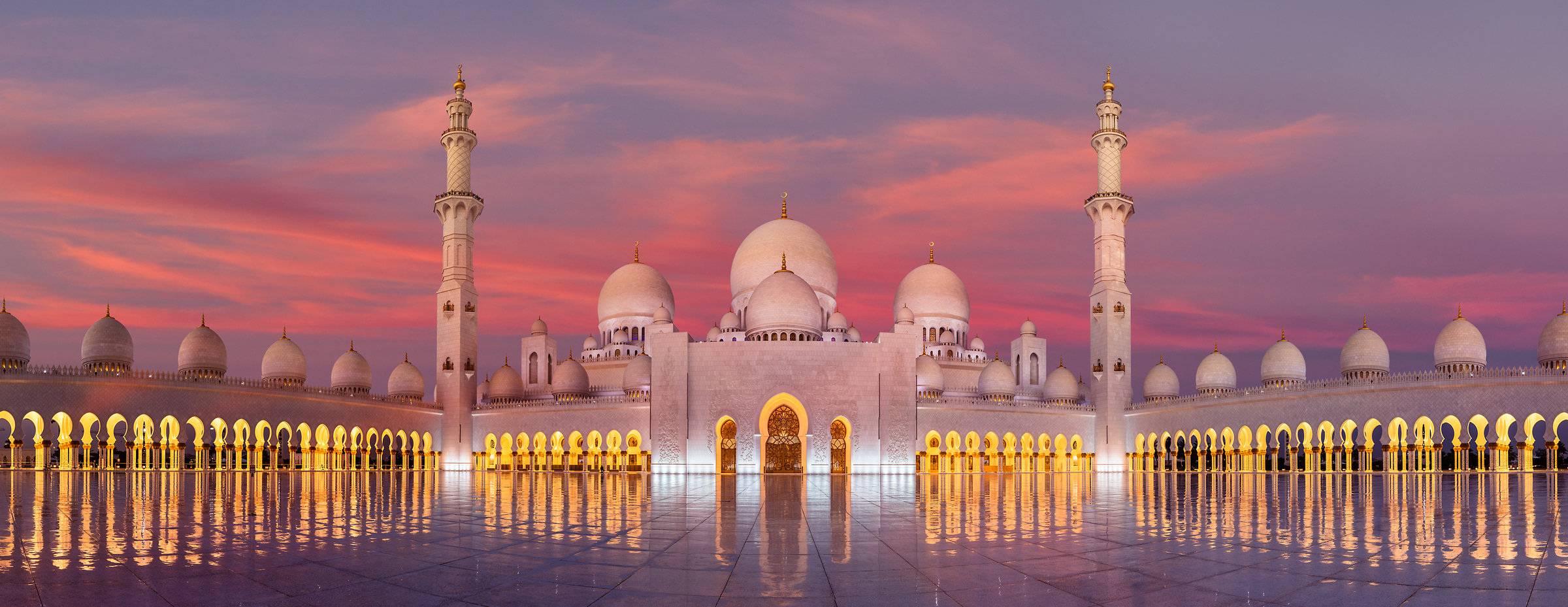 1,296 megapixels! A very high resolution, large-format photo of the Sheikh Zayed Grand Mosque in Anu Dhabi at sunrise; fine art photograph created by Chris Collacott in the United Arab Emirates