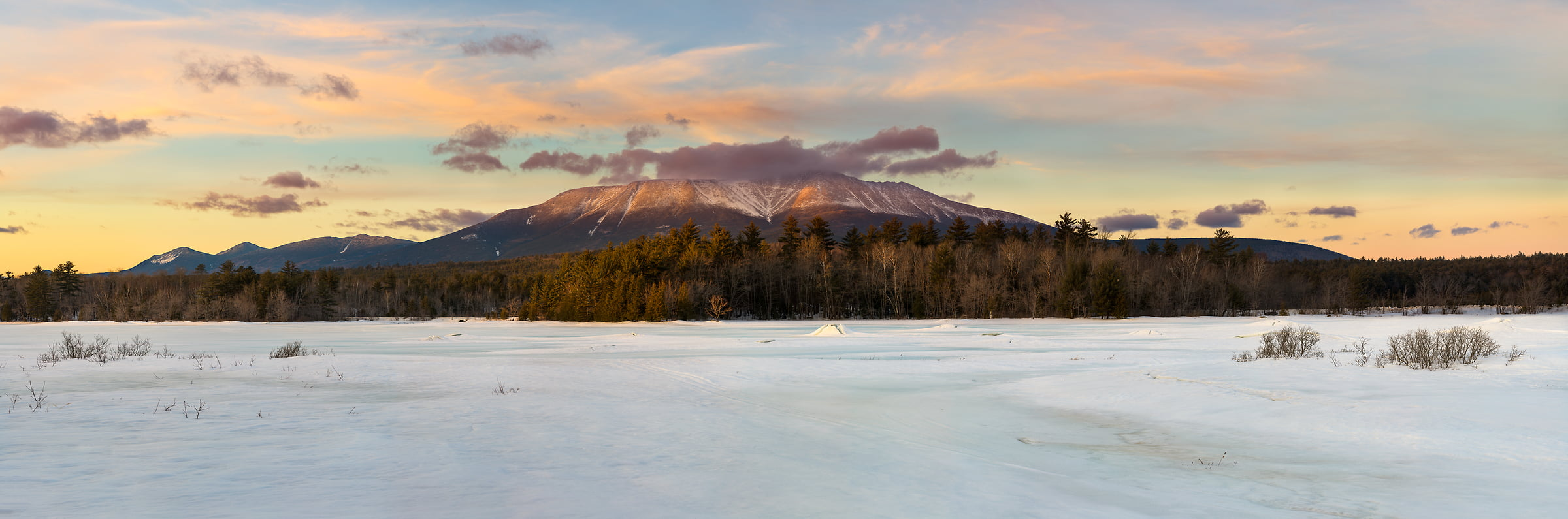 1,310 megapixels! A very high resolution, large-format panorama photo of Mt. Katahdin at sunset during winter; fine art landscape photograph created by Aaron Priest at River Pond, Millinocket, Maine