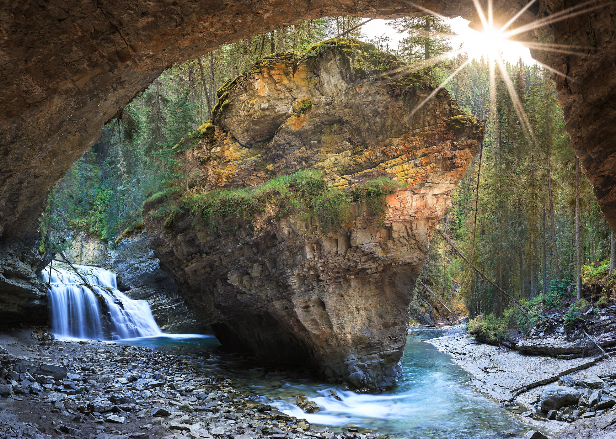2,458 megapixels! A very high resolution, large-format nature photo of Johnston Canyon Cave, including a stream, waterfall, cave, and rock formation; fine art photograph created by Scott Dimond in Banff National Park, Alberta, Canada