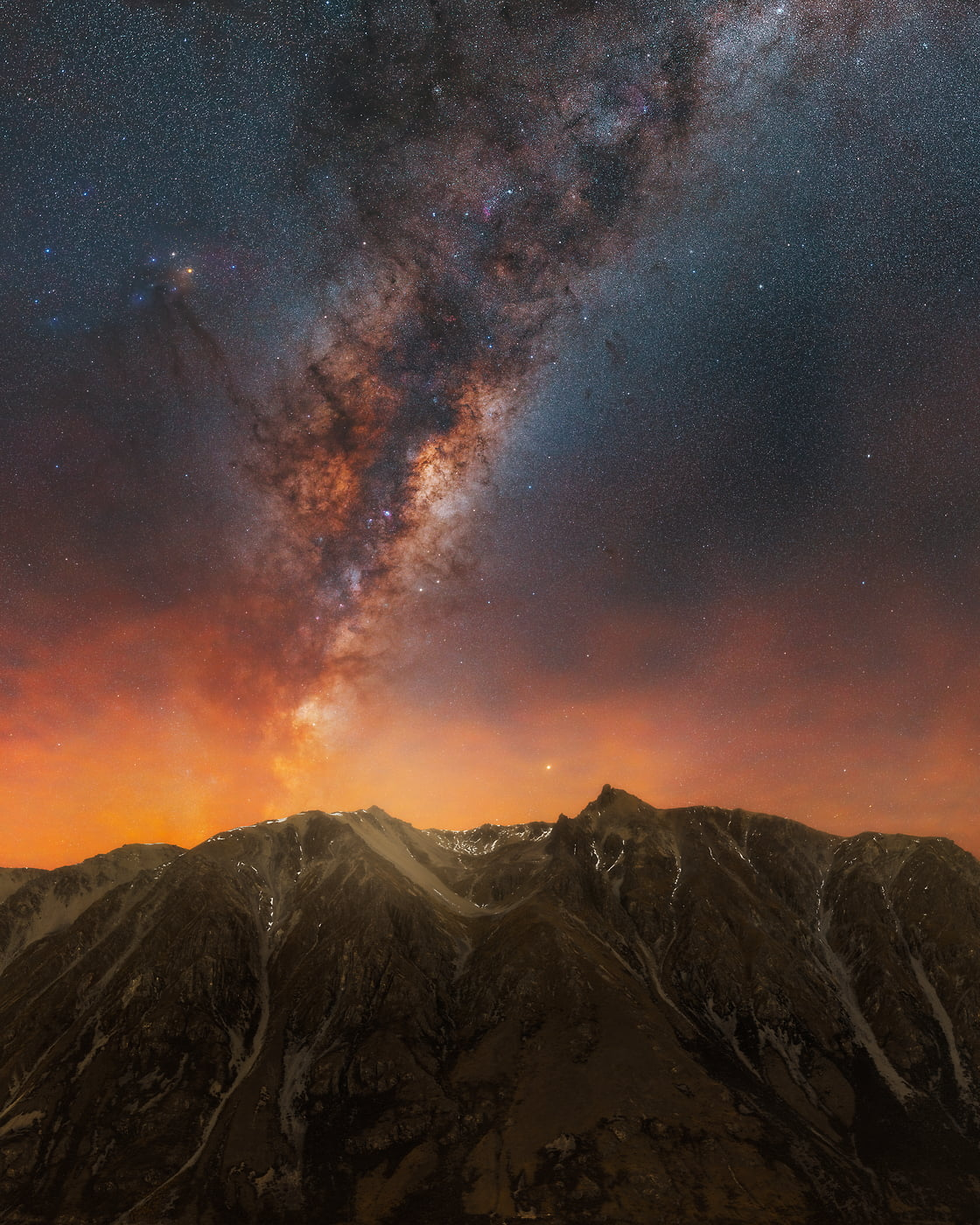 511 megapixels! A very high resolution, large-format VAST photo print of the Milky Way with stars above a beautiful mountain landscape; fine art astrophotography landscape photograph created by Paul Wilson in New Zealand
