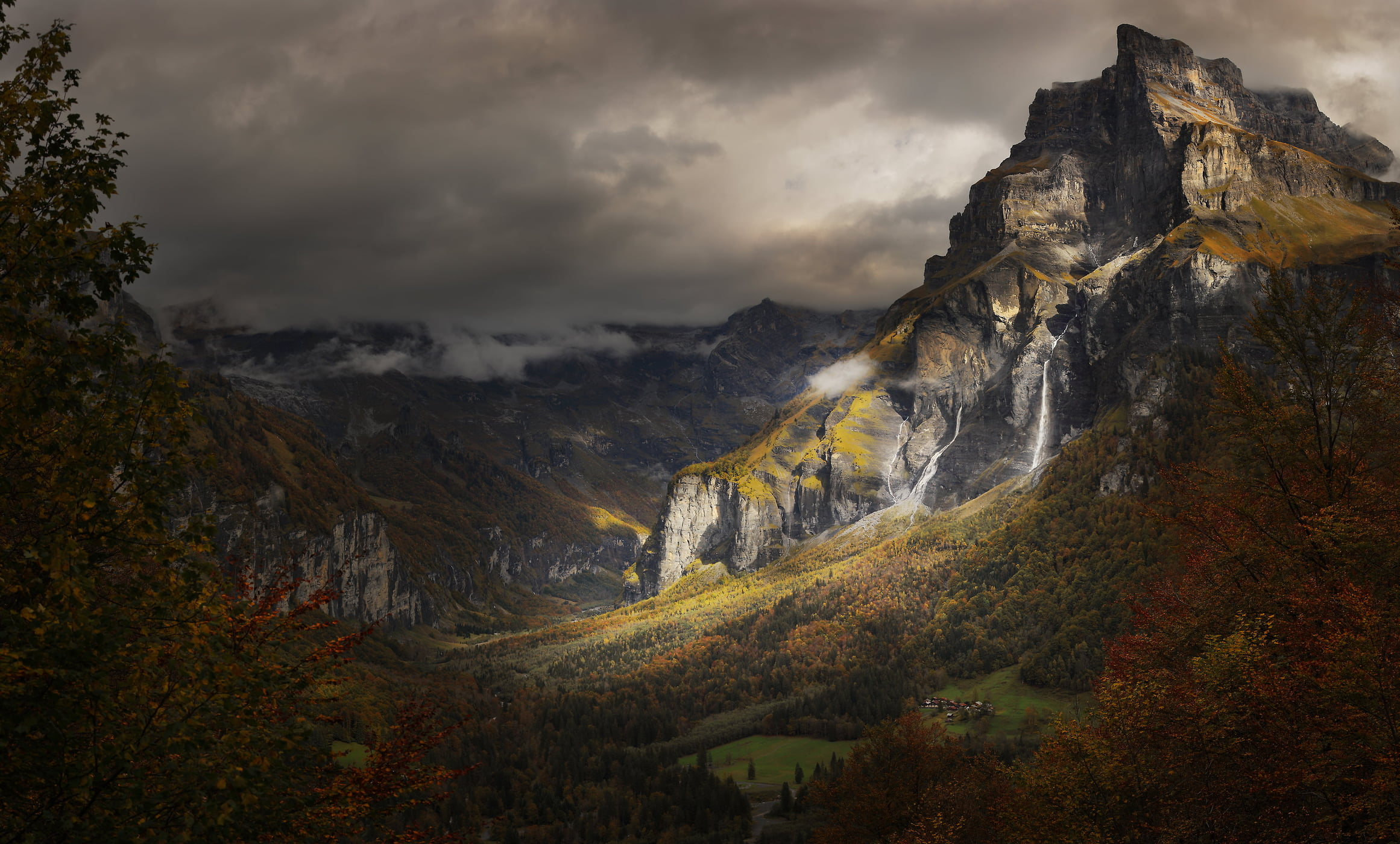 101 megapixels! A very high resolution, large-format VAST photo of a dark landscape with a mountain, waterfalls, and forests; fine art print created by Alexandre Deschaumes in Sixt fer à cheval, France