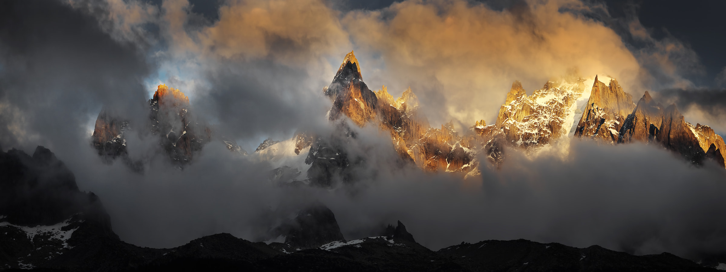 209 megapixels! A very high resolution, large-format VAST photo of stunning mountains at sunset with clouds and fog; fine art landscape print created by Alexandre Deschaumes in Chamonix, France