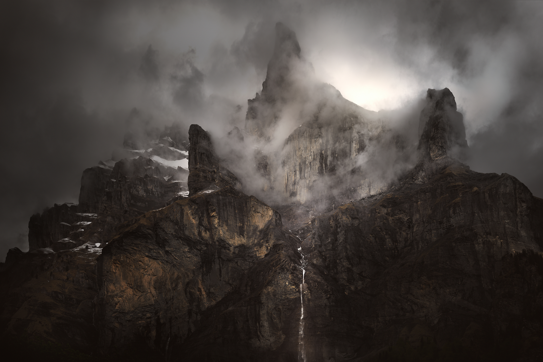 219 megapixels! A very high resolution, large-format VAST photo of dark mountains and clouds; fine art mountain photographic print created by Alexandre Deschaumes in Giffrenant, Sixt fer à cheval, France
