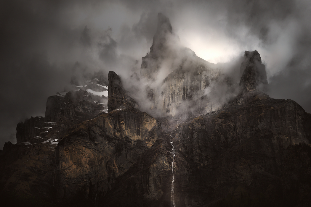 A very high resolution, large-format VAST photo of dark mountains
