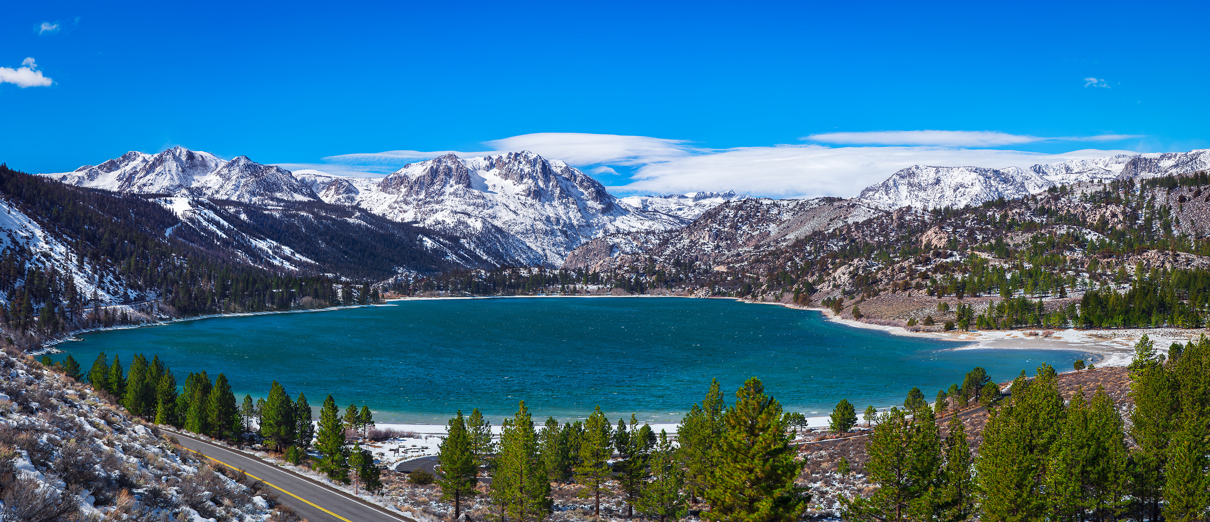 204 megapixels! A very high resolution, large-format VAST photo of a lake and mountains; inspirational landscape photograph created by Jim Tarpo in June Lake, California