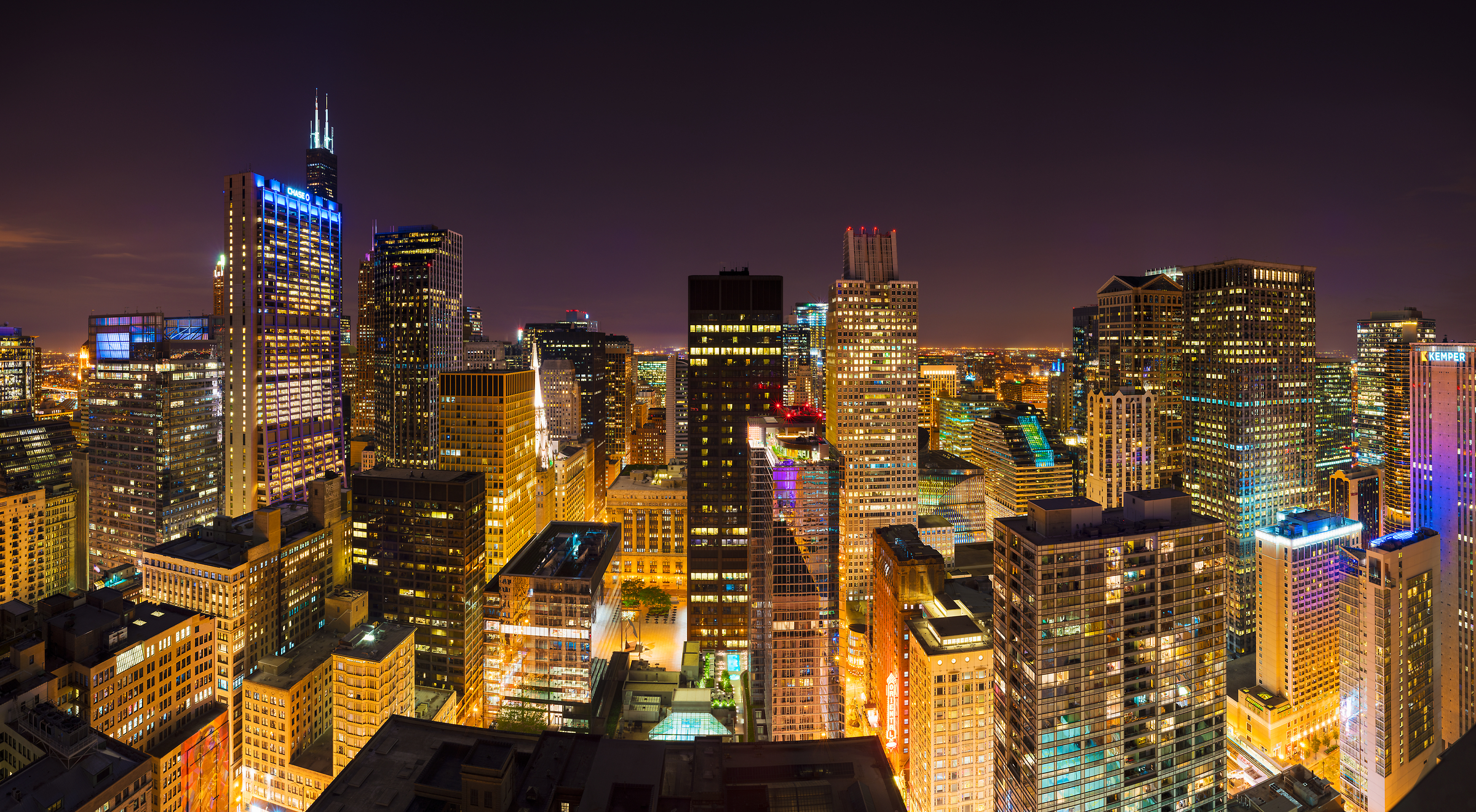 297 megapixels! A very high resolution, large-format VAST photo of a cityscape at night; skyline photograph created by Jim Tarpo in Chicago, Illinois