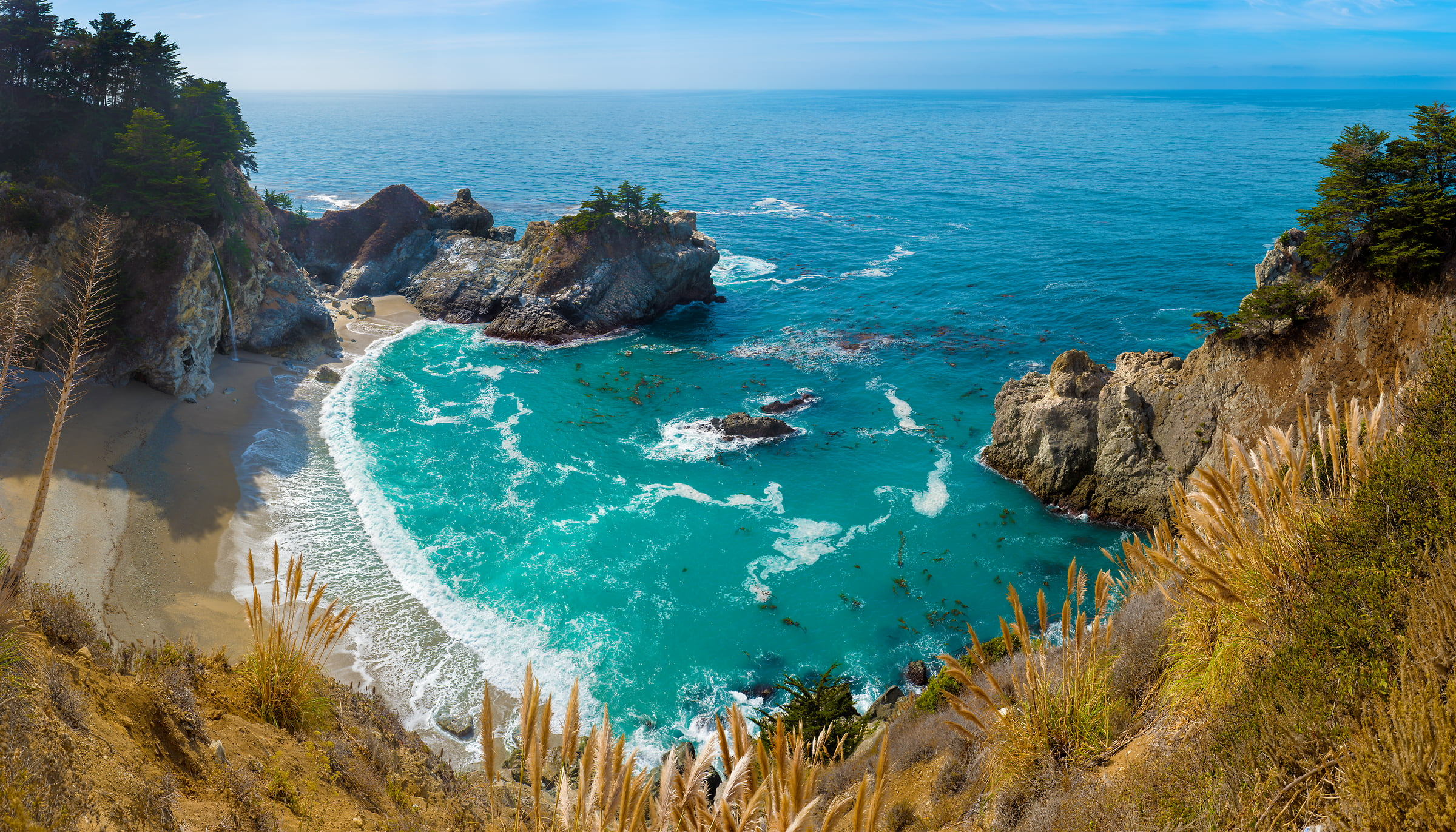 404 megapixels! A very high resolution, large-format VAST photo of a beach, waterfall, and the ocean; fine art photograph created by Jim Tarpo in Big Sur, California