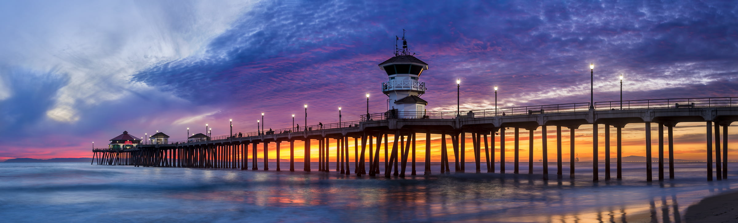 201 megapixels! A very high resolution, large-format VAST photo of a pier and the ocean at sunset; fine art photograph created by Jim Tarpo in Huntington Beach, California