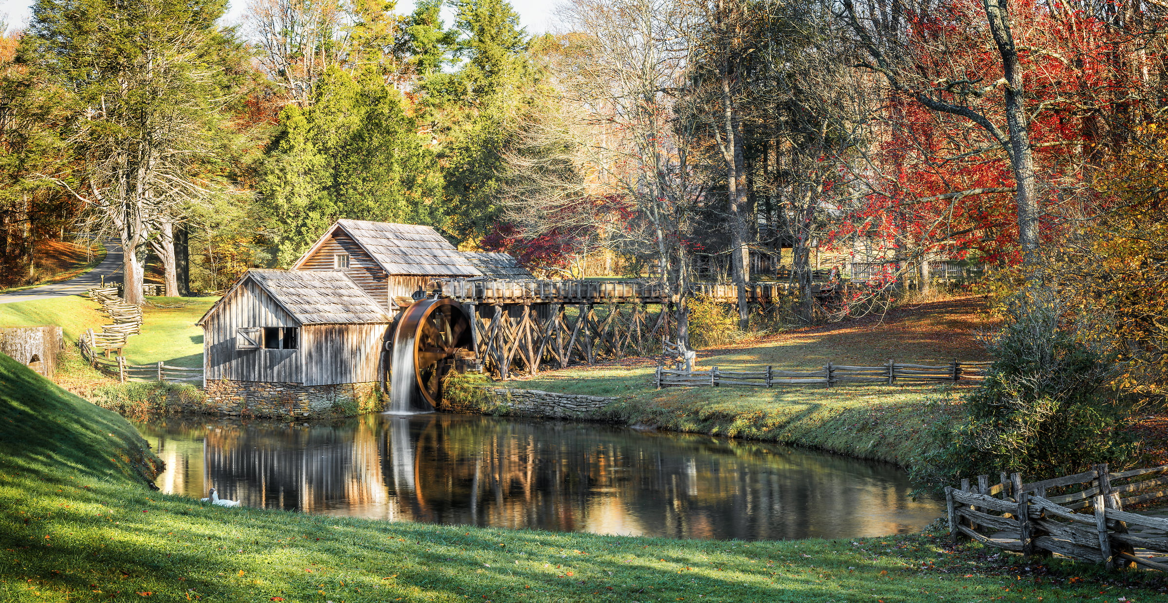 138 megapixels! A very high resolution, large-format VAST photo of a quaint old mill and a waterwheel; fine art photograph created by Jim Tarpo at Milepost 176 of the Blue Ridge Pkwy, Virginia