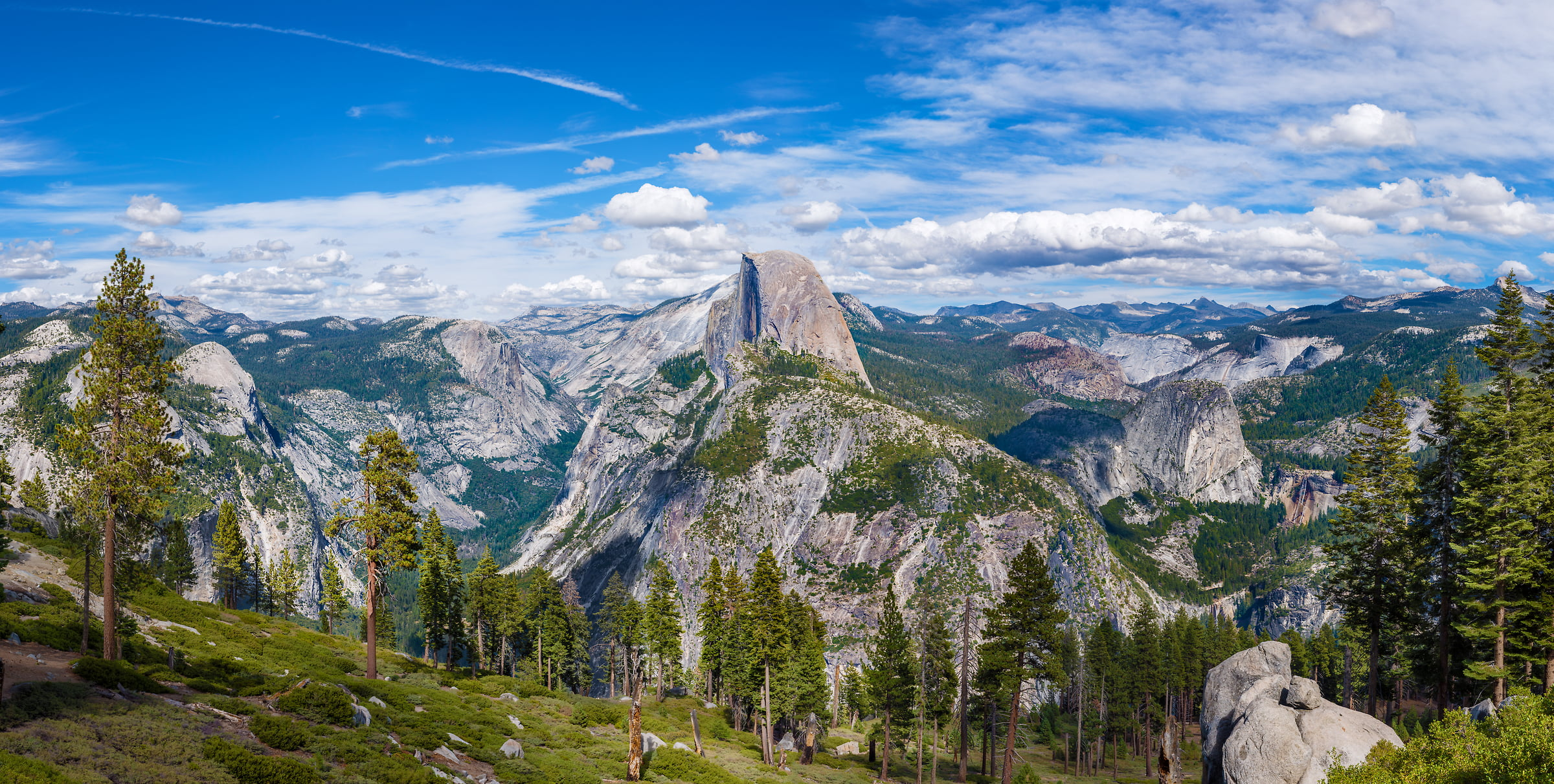 288 megapixels! A very high resolution, large-format VAST photo of an American landscape with an idyllic valley; fine art landscape photograph created by Jim Tarpo in Half Dome, Yosemite National Park, California