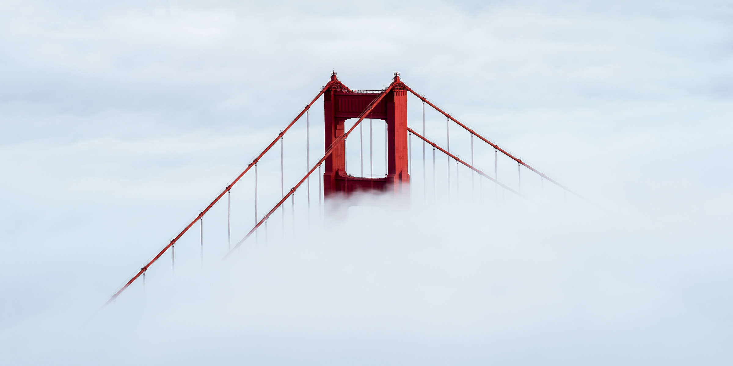 89 megapixels! A high resolution, large-format VAST photo of the Golden Gate Bridge in fog; fine art bridge photo print created by Justin Katz in the Marin Headlands near San Francisco, California