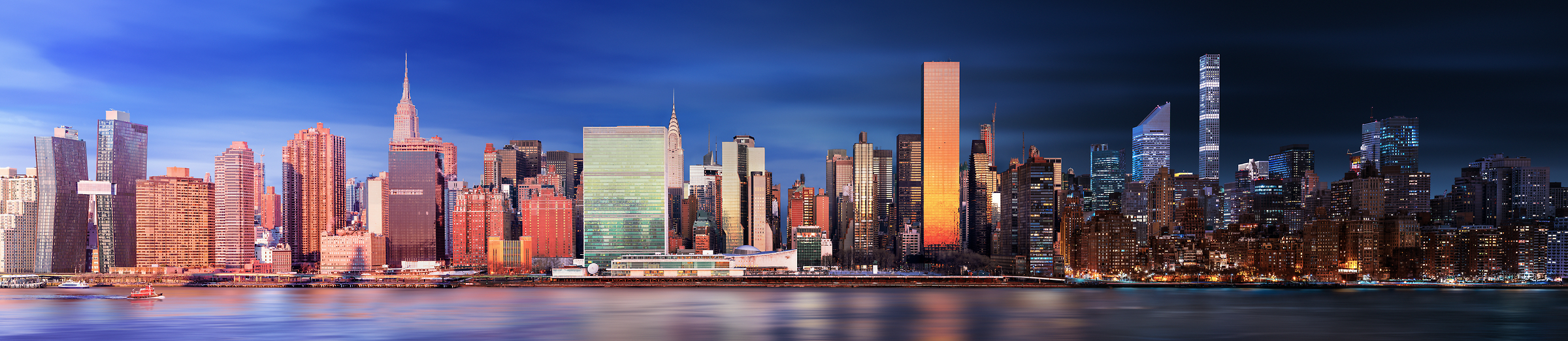 A very high resolution photograph of the New York City skyline; VAST photo created by Dan Piech