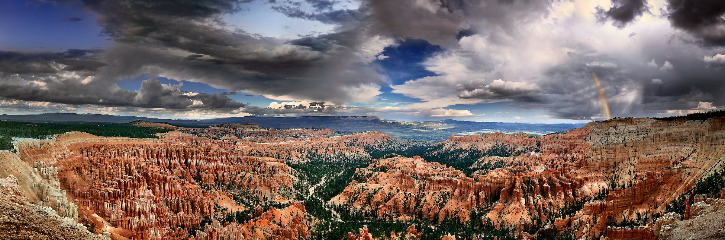 402 megapixels! A very high resolution panorama landscape photo of Bryce Canyon National Park with a rainbow; VAST photo created by Phil Crawshay in Bryce Canyon, Utah