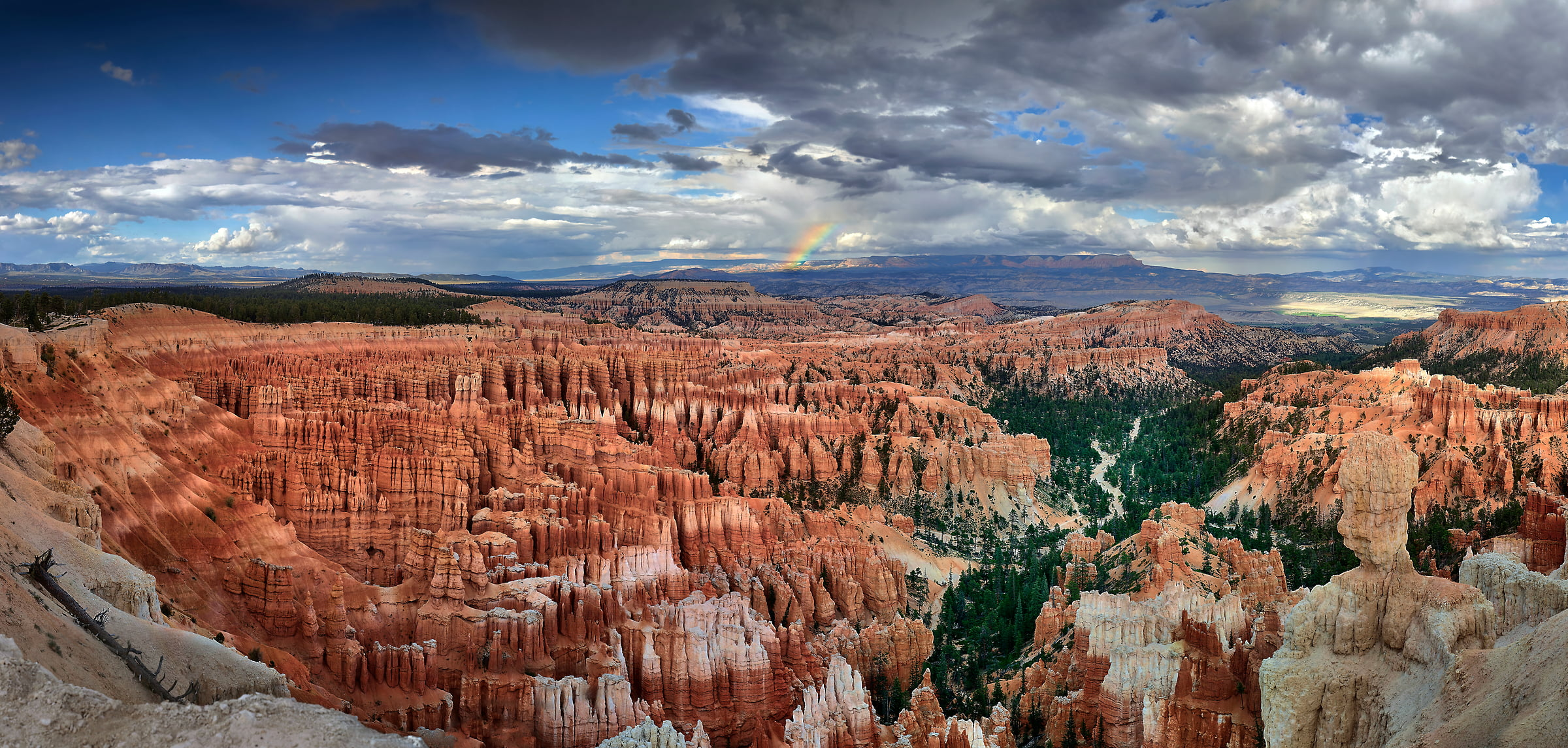 266 megapixels! A very high resolution landscape photo of Bryce Canyon National Park with a rainbow; VAST photo created by Phil Crawshay in Bryce Canyon, Utah, USA