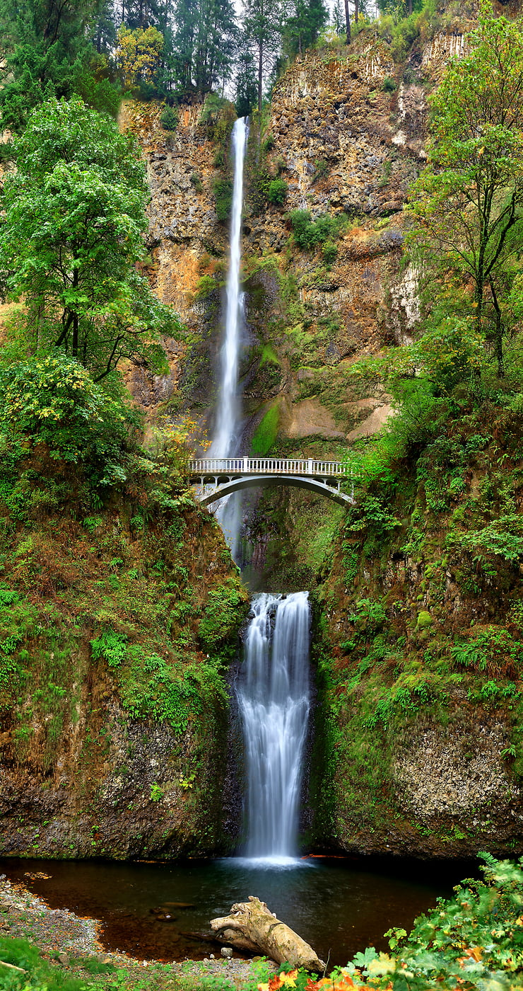 210 megapixels! A very high resolution nature photo of a waterfall with a bridge over it in a forest; VAST photo created by Phil Crawshay in Multnomah Falls, Portland, Oregon