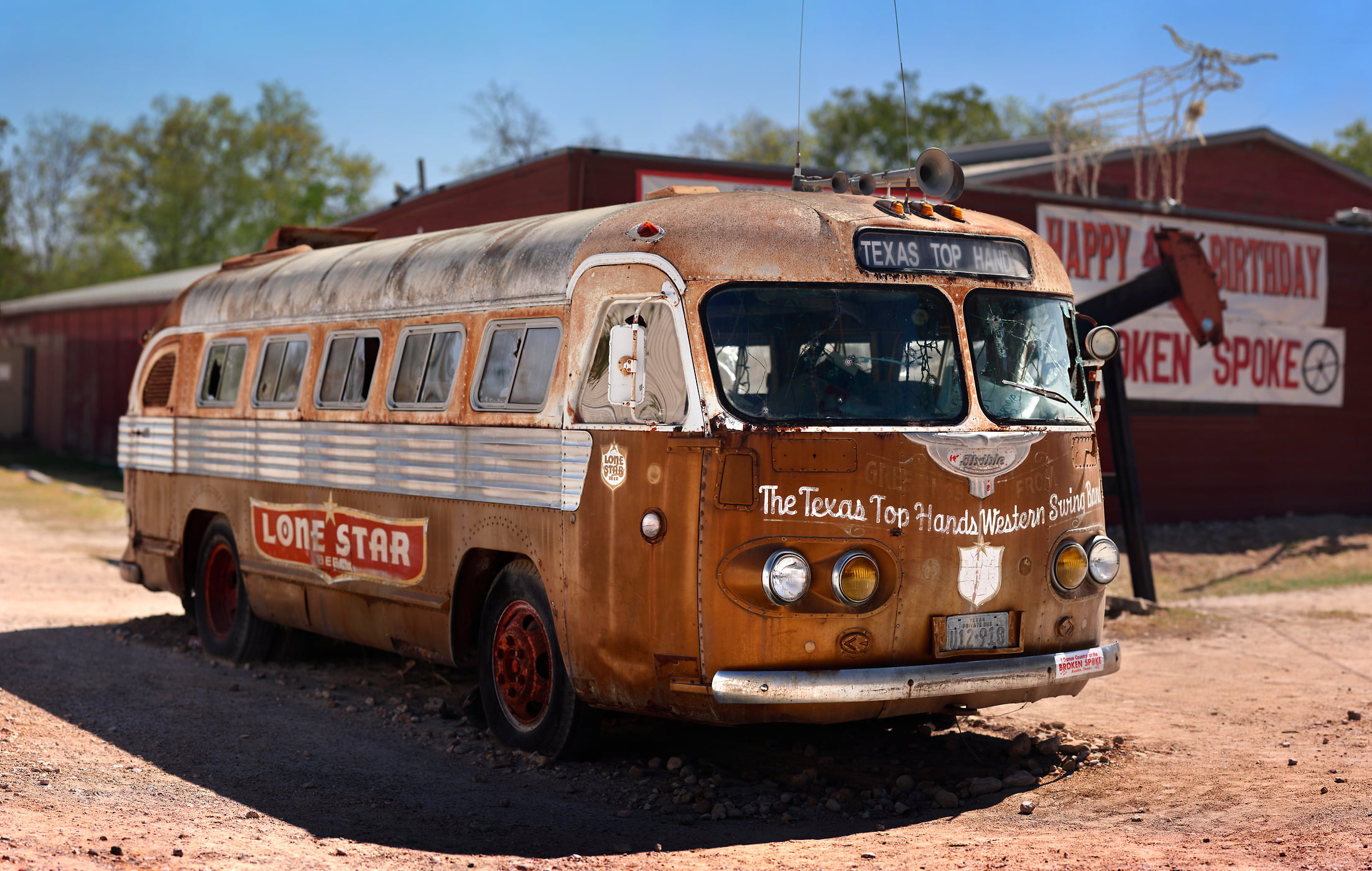 506 megapixels! A very high resolution fine art photograph of an old iconic bus that is emblamatic of Texas culture; VAST photo created by Phil Crawshay in Texas