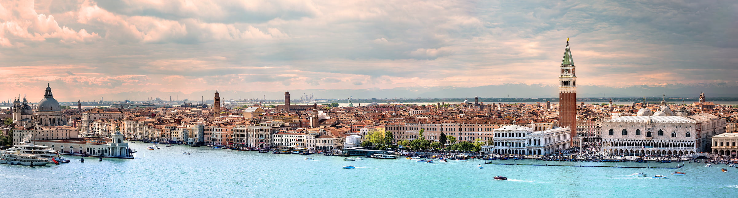 523 megapixels! A very high resolution, large-format VAST photo print of Venice, Italy with the Campanile di San Marco, canals, and boats; fine art cityscape photograph created by Justin Katz in Venice, Italy