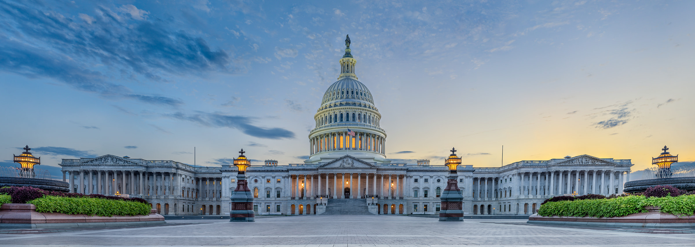 264 megapixels! A very high resolution, large-format VAST photo print of the U.S. Capitol Building at sunset and twilight; photograph created by Tim Lo Monaco in the United States Capitol, Washington, D.C., USA