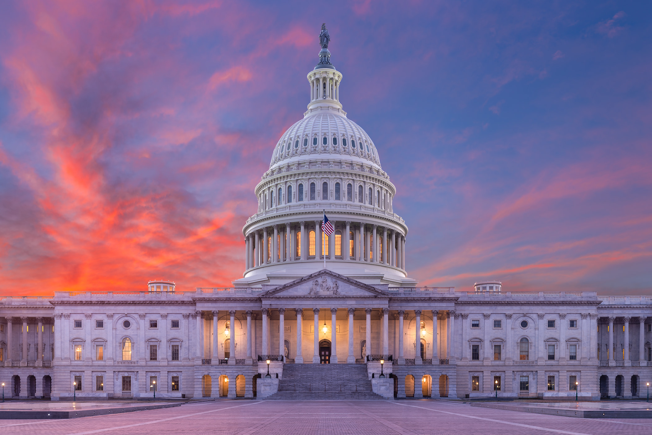 245 megapixels! A very high resolution, large-format VAST photo of the United States Capitol building at sunset; fine art photograph created by Tim Lo Monaco in Washington, D.C.