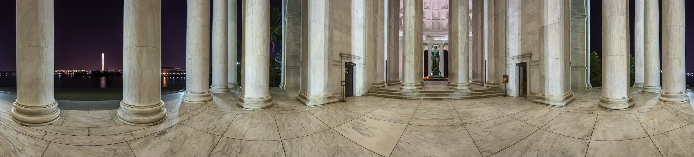226 megapixels! A very high resolution, 360-degree VAST photo of the Jefferson Memorial at night; panorama photograph created by Tim Lo Monaco in Washington, D.C, USA