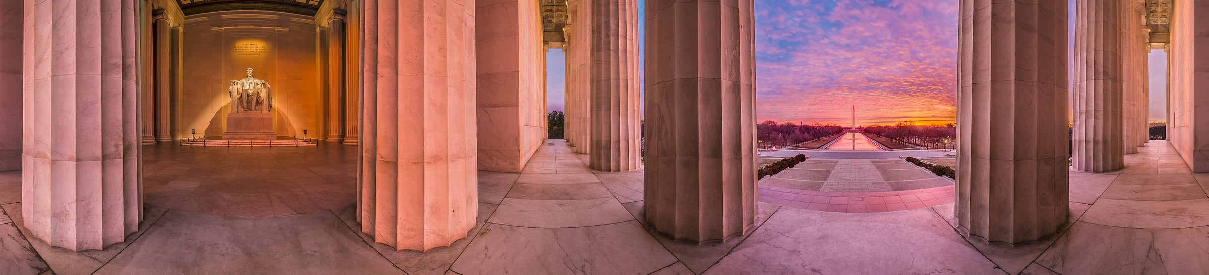 220 megapixels! A very high resolution, large-format VAST photo of the Lincoln Memorial and the National Mall at sunrise; 360-degree panorama photograph created by Tim Lo Monaco in Washington, D.C.