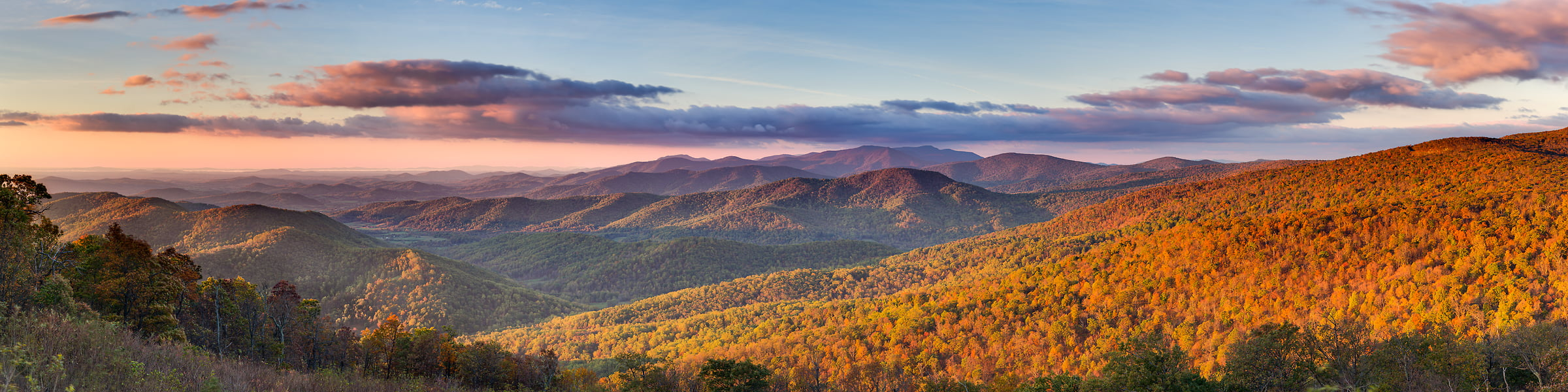 128 megapixels! A very high resolution, large-format VAST photo of fall foliage in the Appalachian mountains at sunrise on Skyline Drive in Shenandoah National Park; landscape panorama photograph created by Tim Lo Monaco in Rappahannock County, Virginia