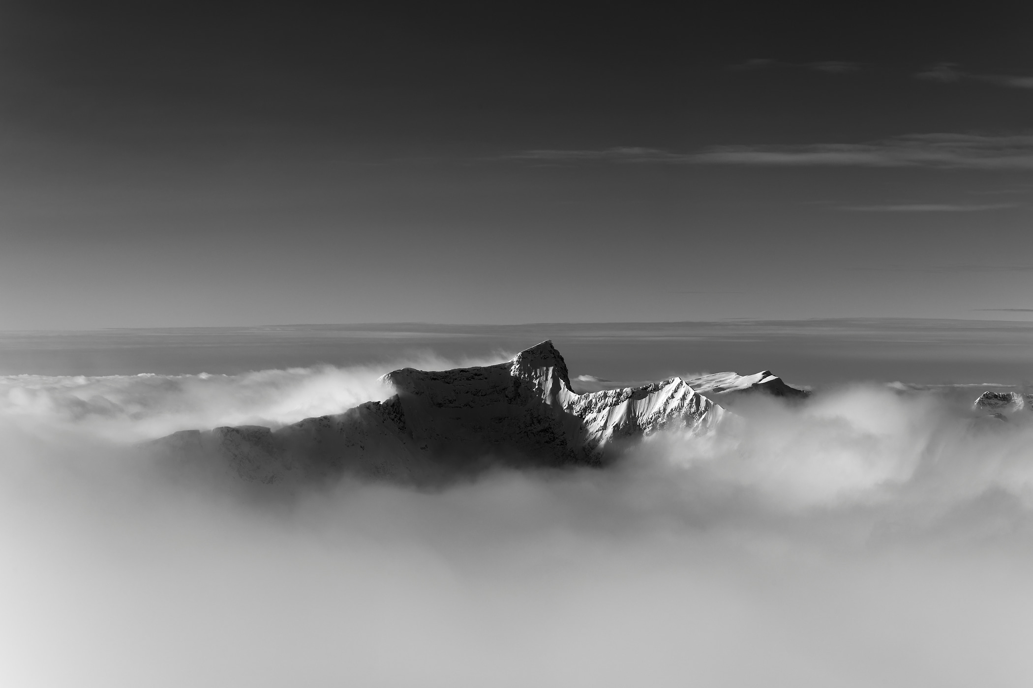 152 megapixels! A very high resolution, large-format VAST photo print of a mountain amid clouds; black & white landscape photograph created by Scott Rinckenberger in Davis Peak, Columbia Mountains, British Columbia, Canada