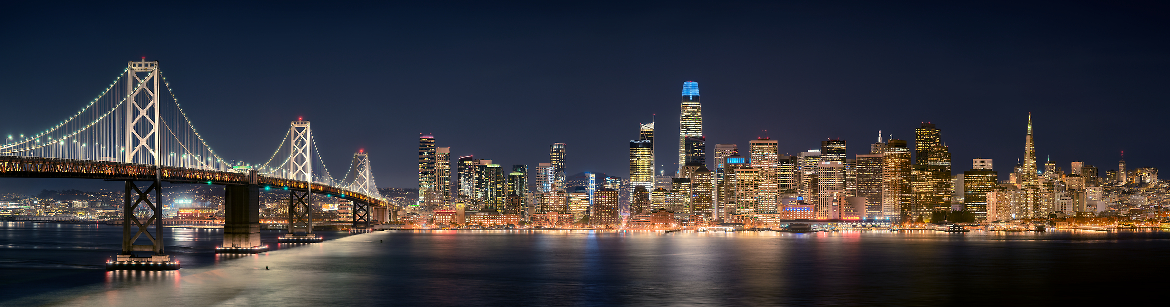 686 megapixels! A very high resolution, large-format VAST photo print of the San Francisco skyline and the Bay Bridge at night; cityscape photograph created by Jim Tarpo in Yerba Buena Island and Treasure Island, San Francisco, California