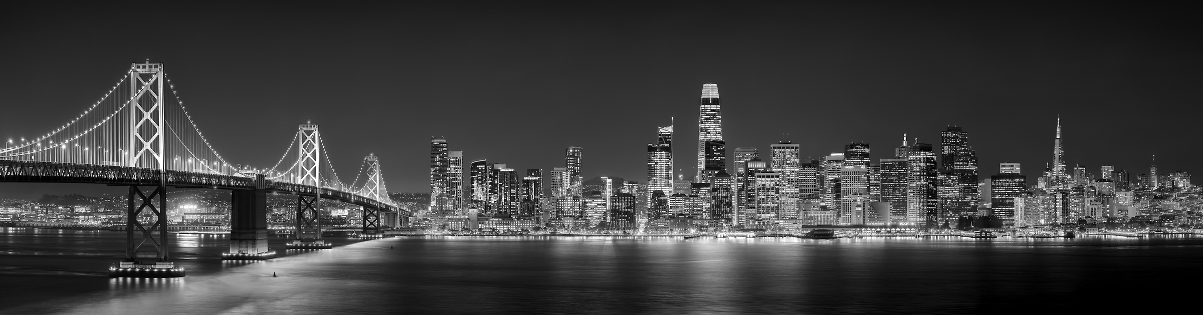 686 megapixels! A very high resolution, large-format VAST photo print of the San Francisco skyline and the Bay Bridge at night; fine art cityscape skyline photograph created by Jim Tarpo in Yerba Buena Island and Treasure Island, San Francisco, California